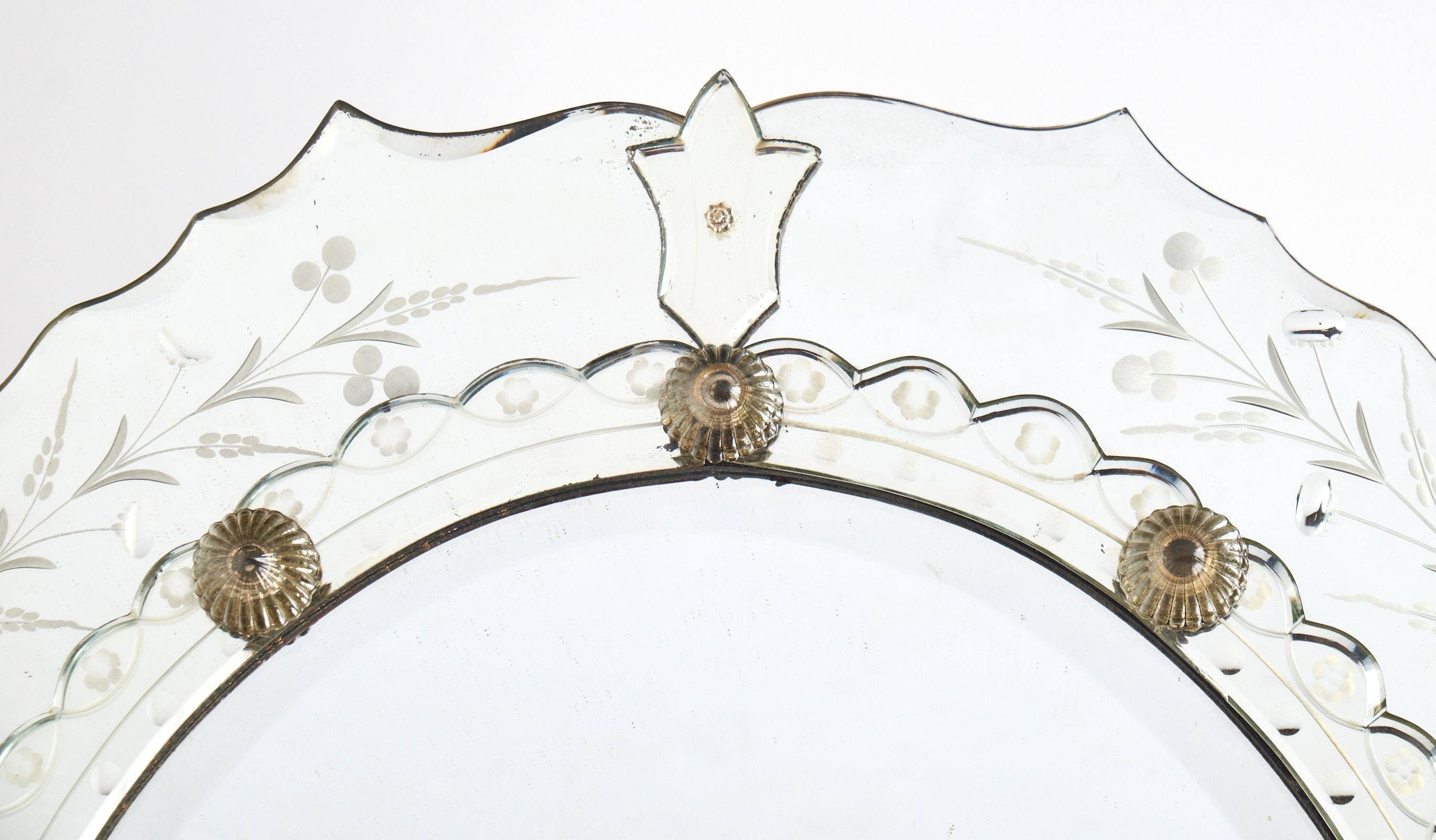 Antique Venetian Glass Oval Mirror - Jean Marc Fray with regard to Antique Venetian Glass Mirrors (Image 10 of 25)