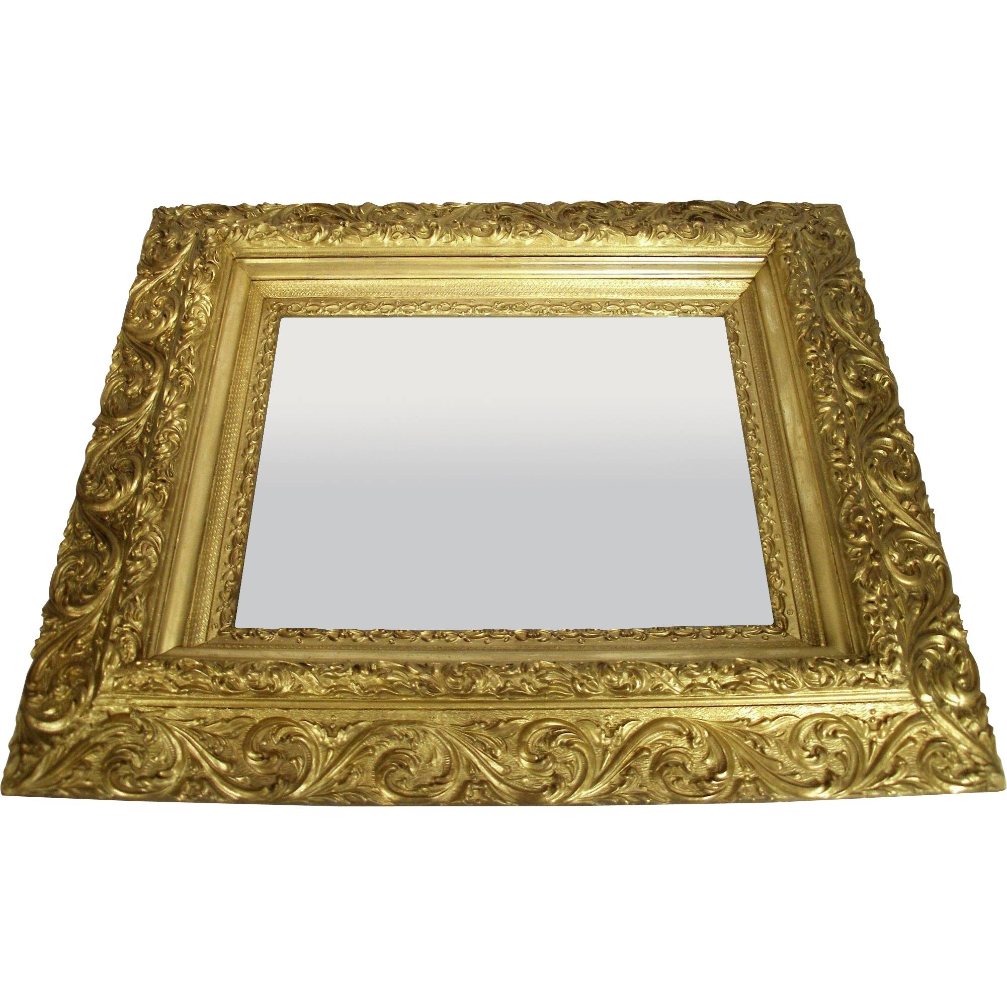 Antique Victorian Art Nouveau Gold Gilt Wood Frame Scroll Foliage with Art Nouveau Wall Mirrors (Image 5 of 25)