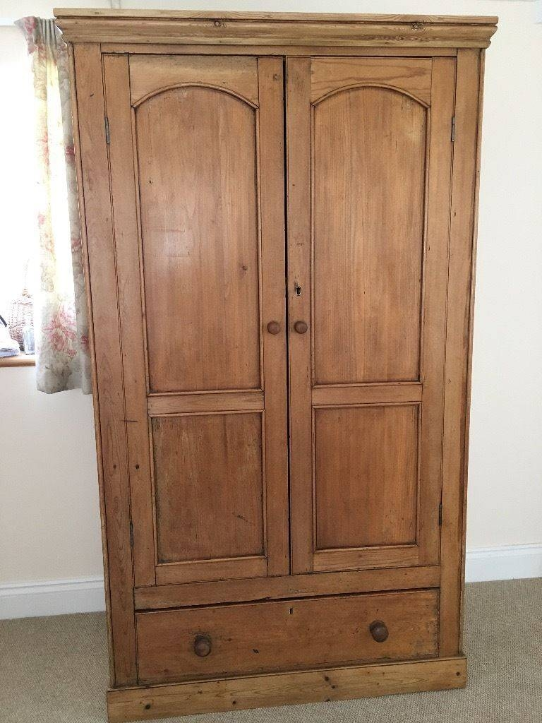 Antique Victorian Pine Double Wardrobe With Key & Drawer! Offers inside Victorian Pine Wardrobes (Image 3 of 15)
