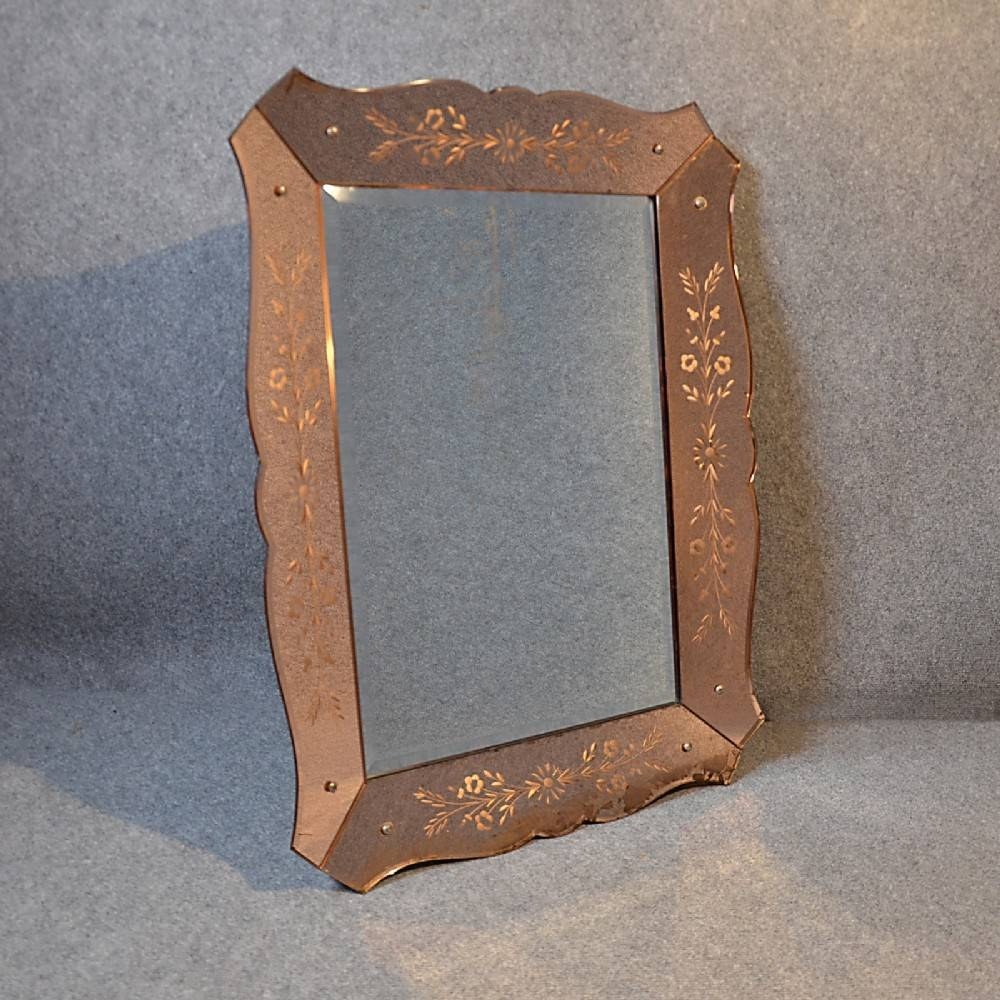 Antique Wall Mirror Art Deco Bevelled Looking Glass Frame C1930 throughout Antique Art Deco Mirrors (Image 9 of 25)