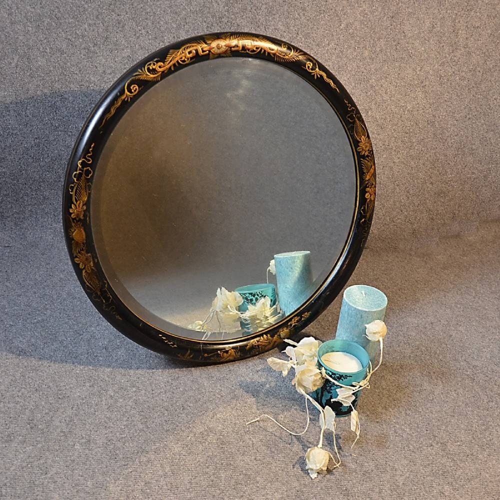 Antique Wall Mirror Round Chinoiserie Bevelled Circular Looking within Round Bevelled Mirrors (Image 3 of 25)