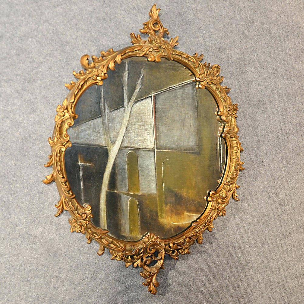 Antique Wall Mirror Victorian Ornate Gilt Wood Looking Glass in Antique Looking Mirrors (Image 12 of 25)