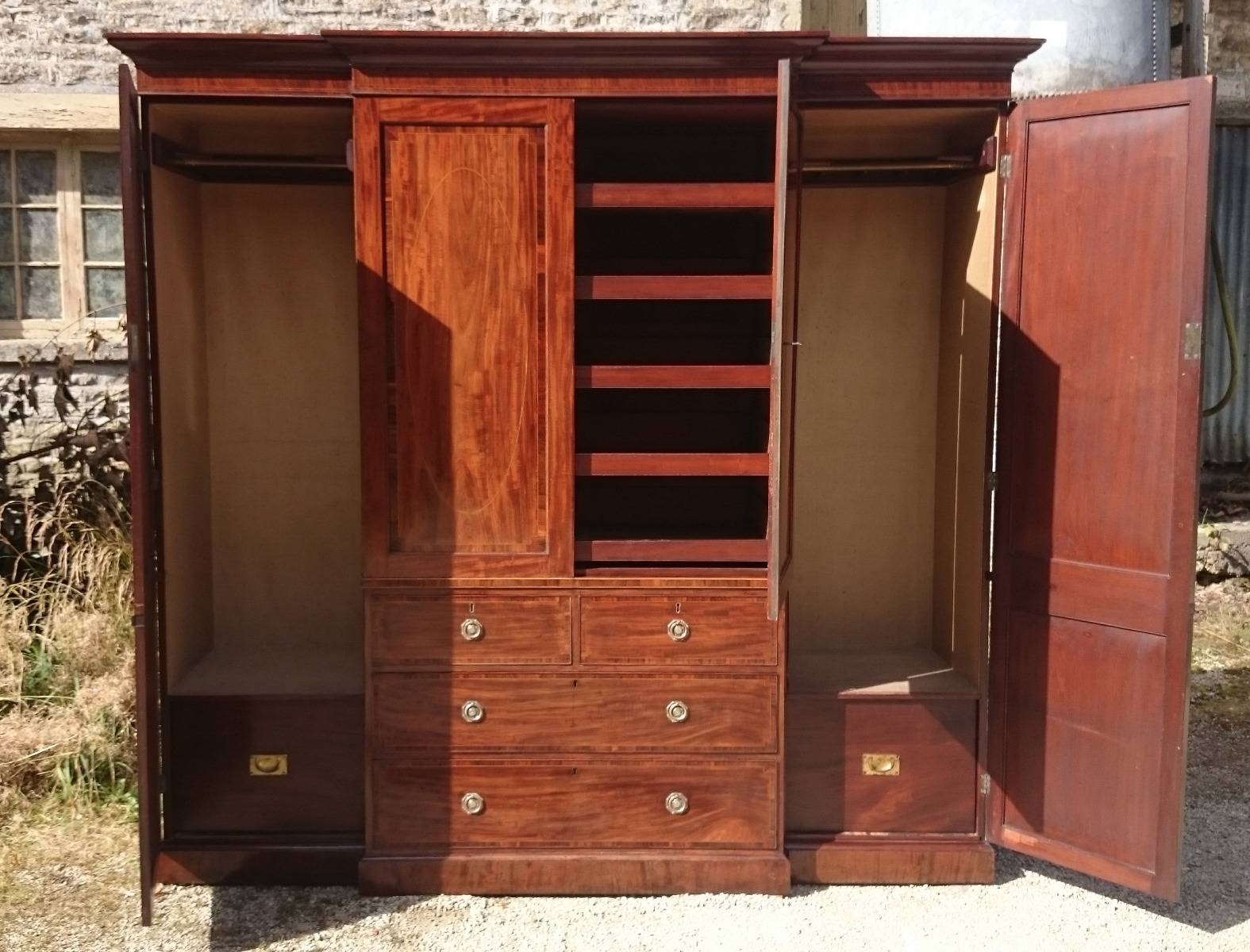 Antique Wardrobe & Linen Presses – Hares Antiques Regarding Georgian Breakfront Wardrobe (View 7 of 30)