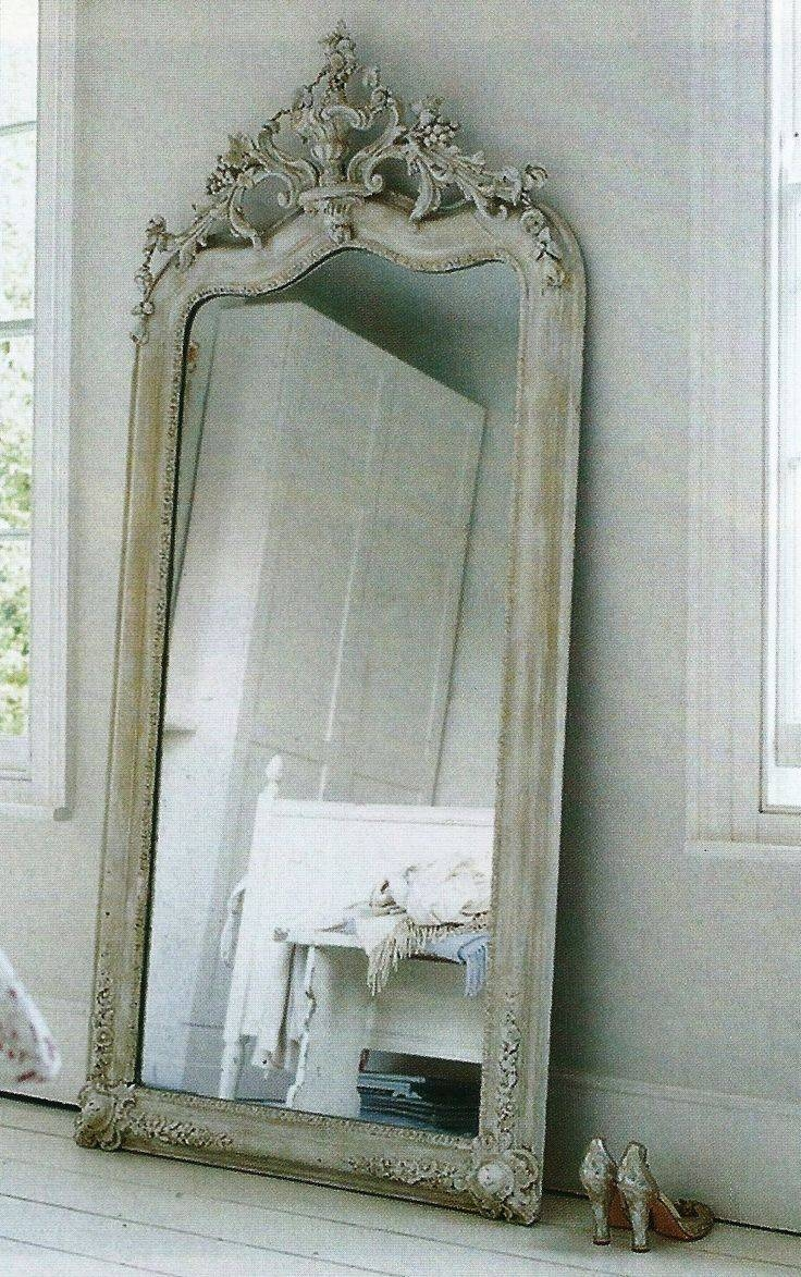 Antique White Floor Mirror 11 Stunning Decor With Vintage Leaning in French Floor Mirrors (Image 5 of 25)