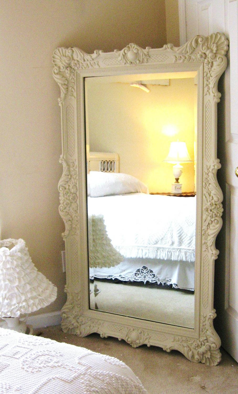 Antique White Floor Mirror 11 Stunning Decor With Vintage Leaning in Vintage White Mirrors (Image 3 of 25)