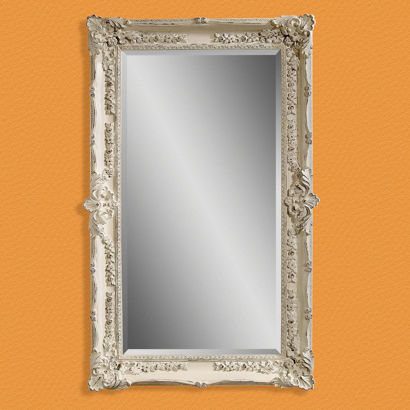 Antique White Wall / Leaning Floor Mirror - 43W X 69H In. | Hayneedle for Vintage White Mirrors (Image 4 of 25)