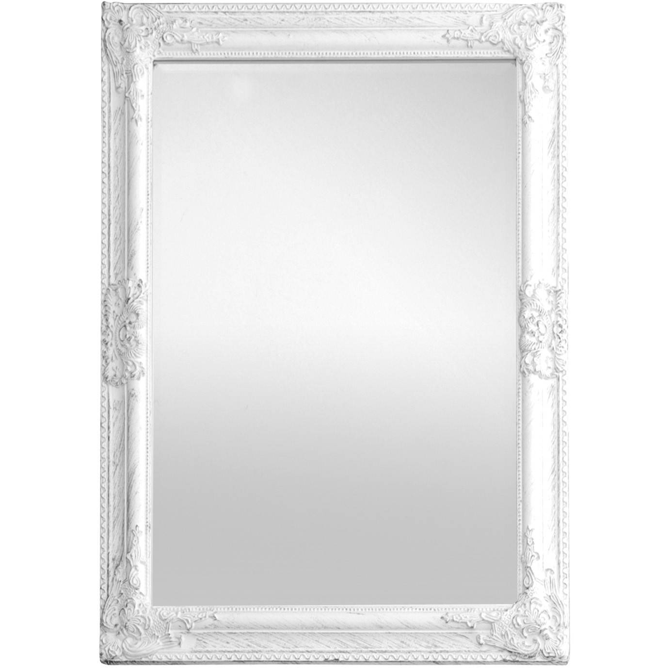 Antique Wooden Framed Mirror (White) regarding White Antique Mirrors (Image 8 of 25)
