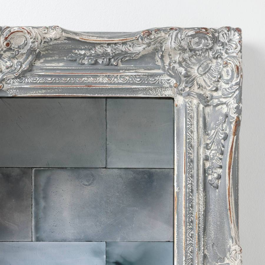 Antiqued Mirror Tileshand Crafted Mirrors | Notonthehighstreet in Grey Vintage Mirrors (Image 3 of 25)
