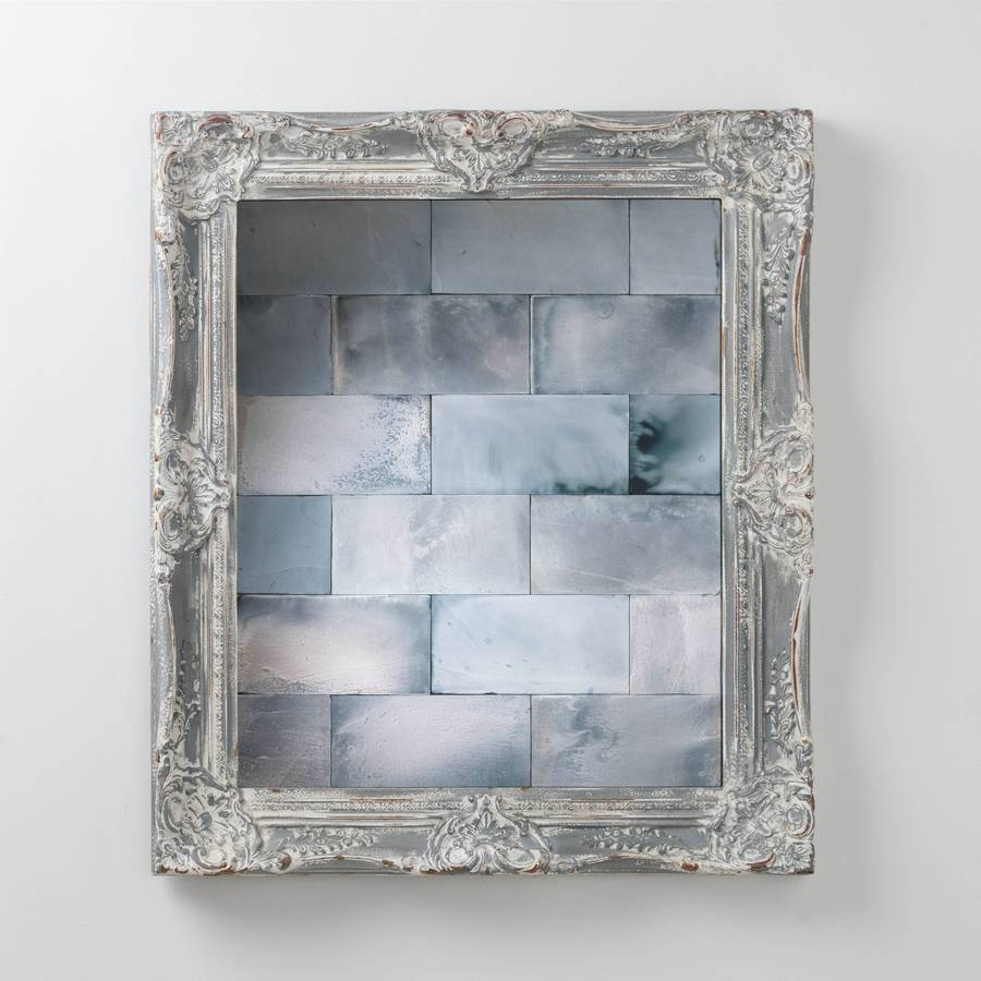 Antiqued Mirror Tileshand Crafted Mirrors | Notonthehighstreet with regard to Grey Vintage Mirrors (Image 4 of 25)