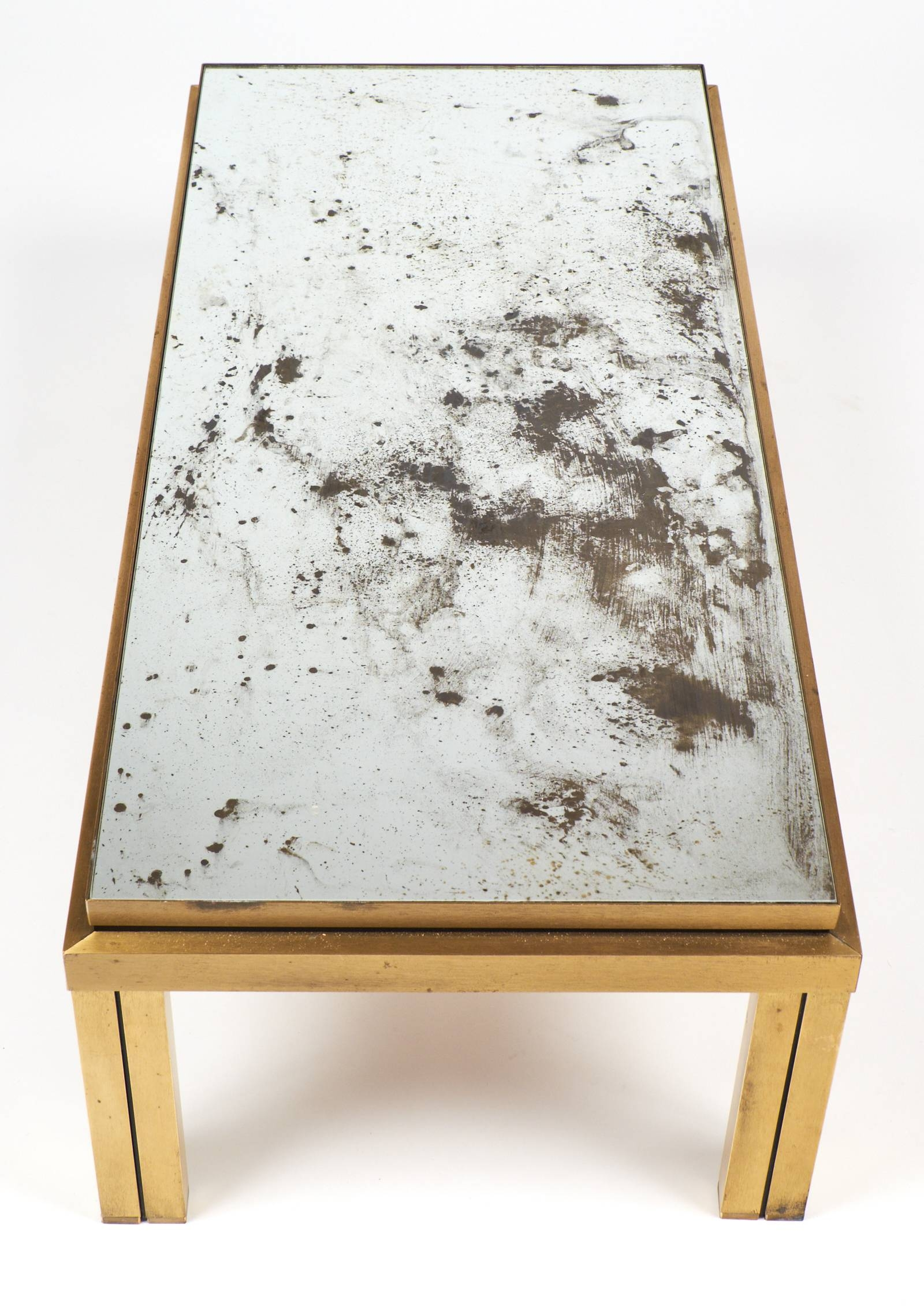 Antiqued Mirror Top Brass Coffee Table   Jean Marc Fray In Antique Mirrored  Coffee Tables
