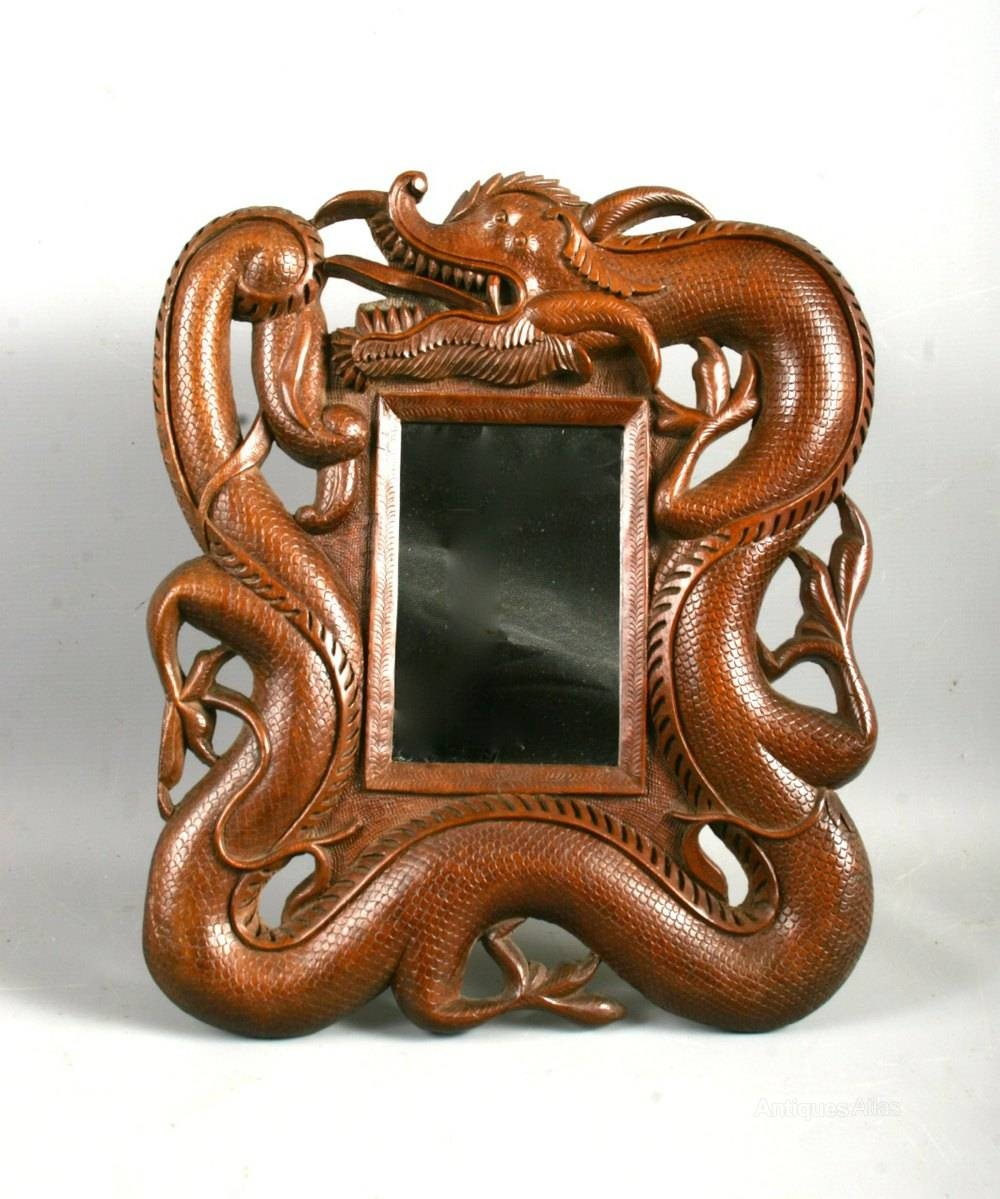 Antiques Atlas - Antique Chinese Burmese Hardwood Dragon Table Mirror throughout Chinese Mirrors (Image 10 of 25)