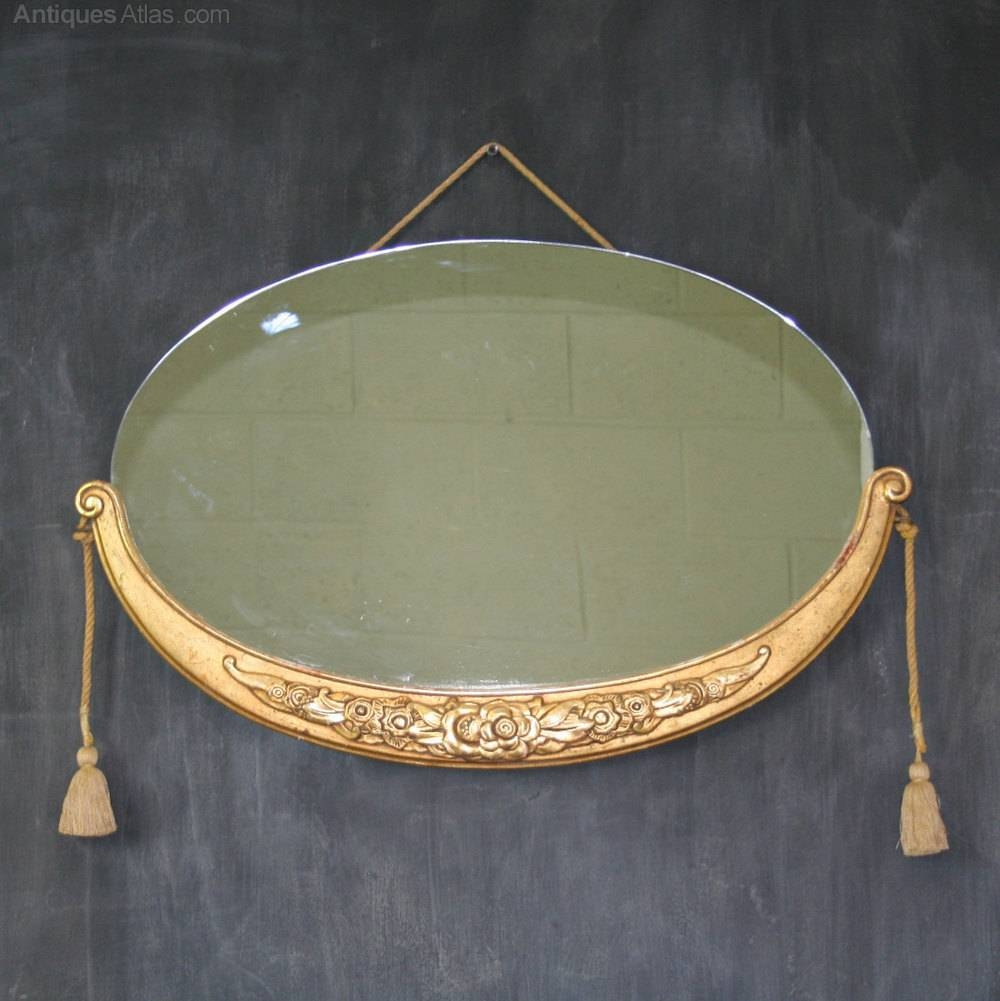 Antiques Atlas - French Art Deco Oval Mirror-Style Of Sue Et Mare intended for Antique Art Deco Mirrors (Image 11 of 25)