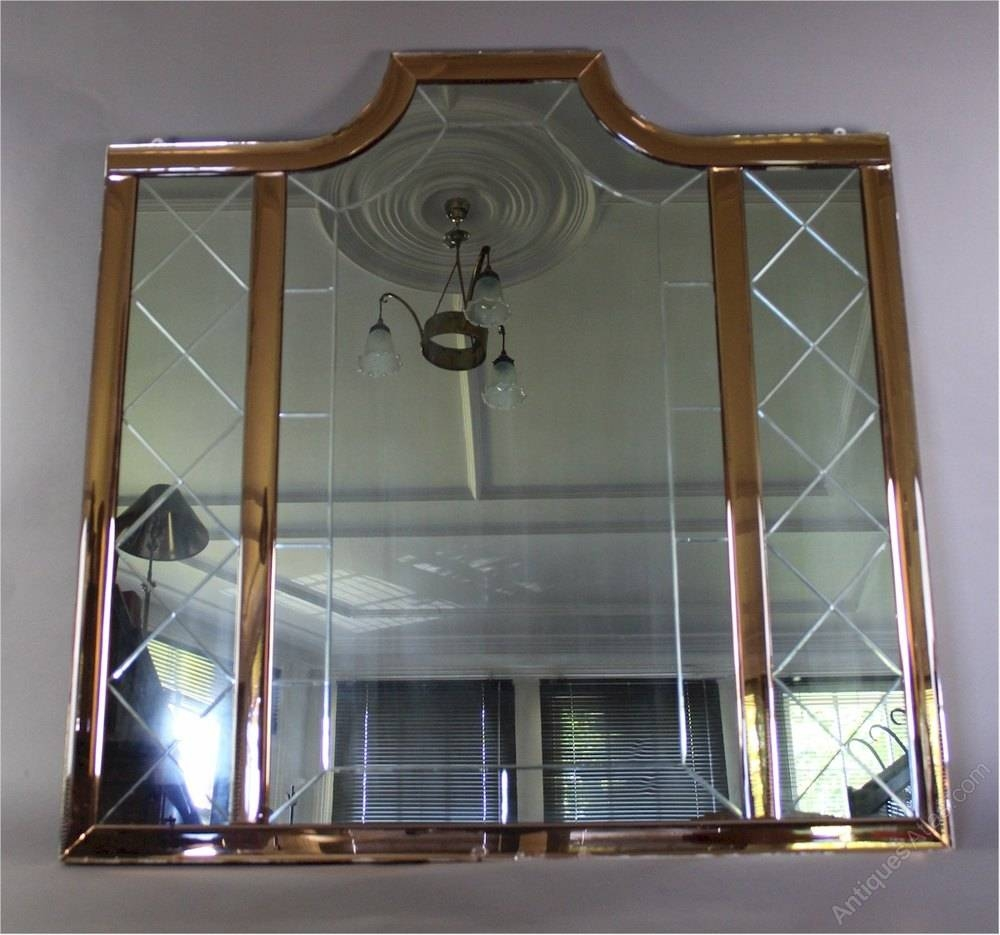 Antiques Atlas - Large Art Deco Mirror With Peach Borders pertaining to Art Deco Mirrors (Image 3 of 25)