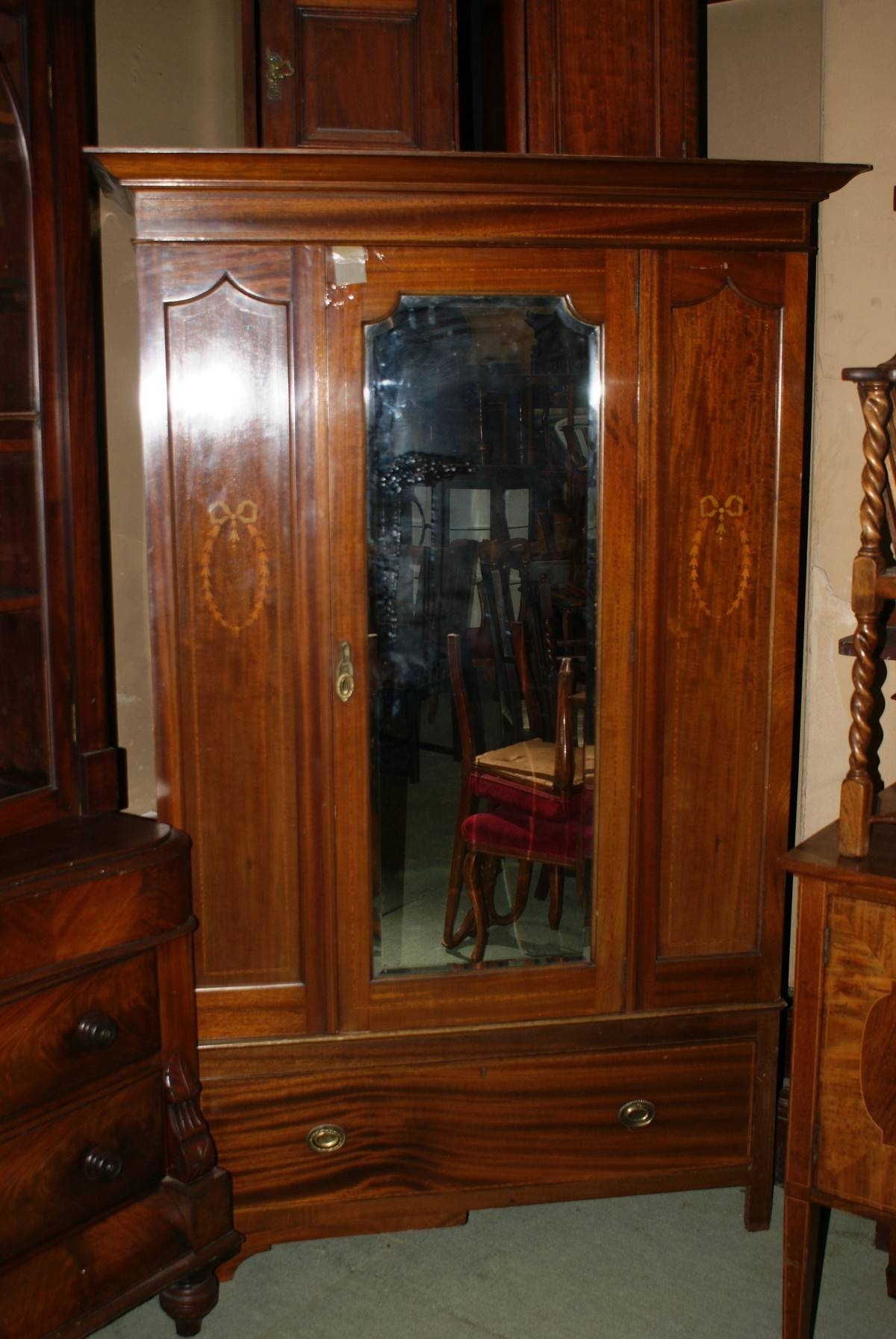 Antiques Bazaar | Wardrobes | Victorian Mahogany Mirror Fronted in Victorian Wardrobes For Sale (Image 6 of 15)