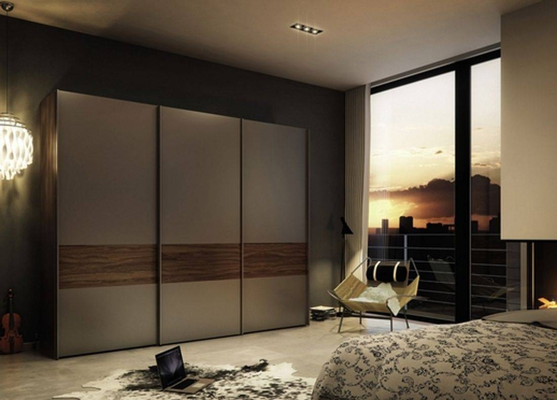 Apartment: Outstanding Bedroom Interior Decoration Ideas With throughout Dark Wood Wardrobe Sliding Doors (Image 2 of 30)