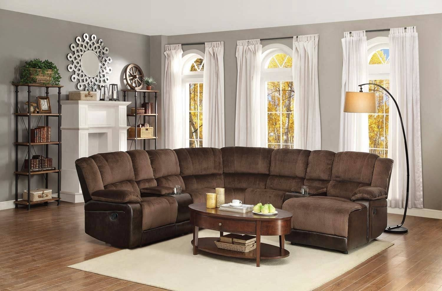 Appealing Curved Sectional Sofa With Recliner 26 With Additional in Jane Bi Sectional Sofa (Image 1 of 30)