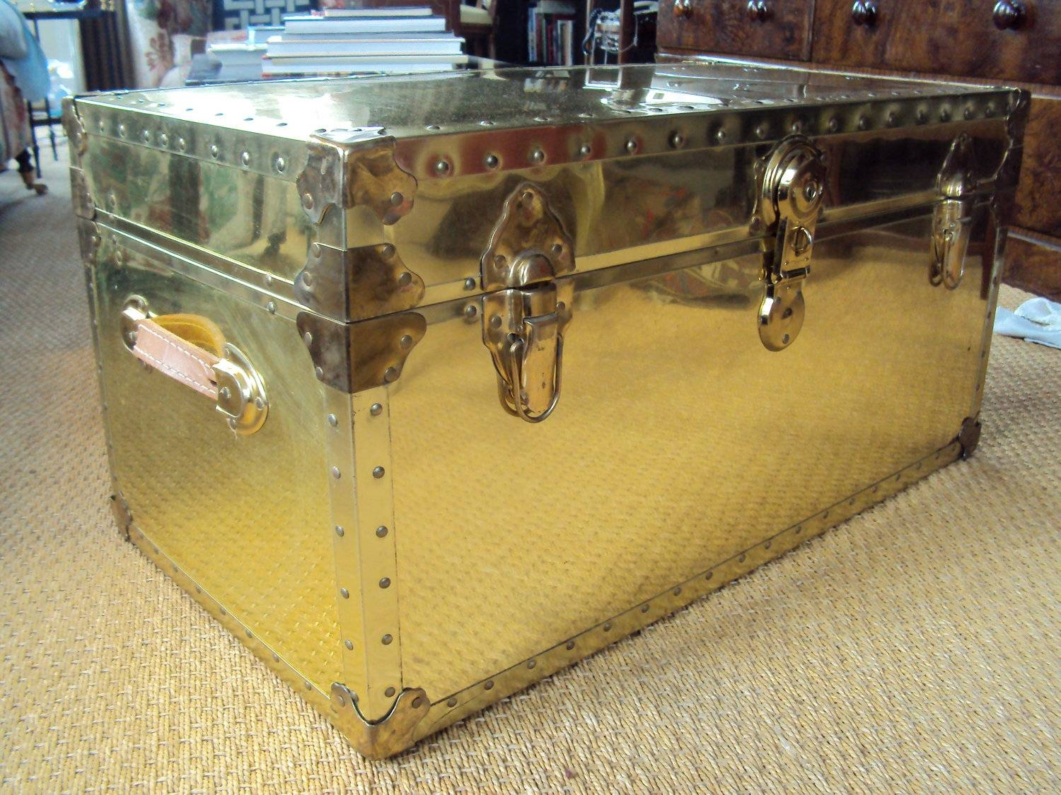 Appearance Details For Steamer Trunk Coffee Table ~ Home Decorations throughout Steamer Trunk Stainless Steel Coffee Tables (Image 1 of 30)