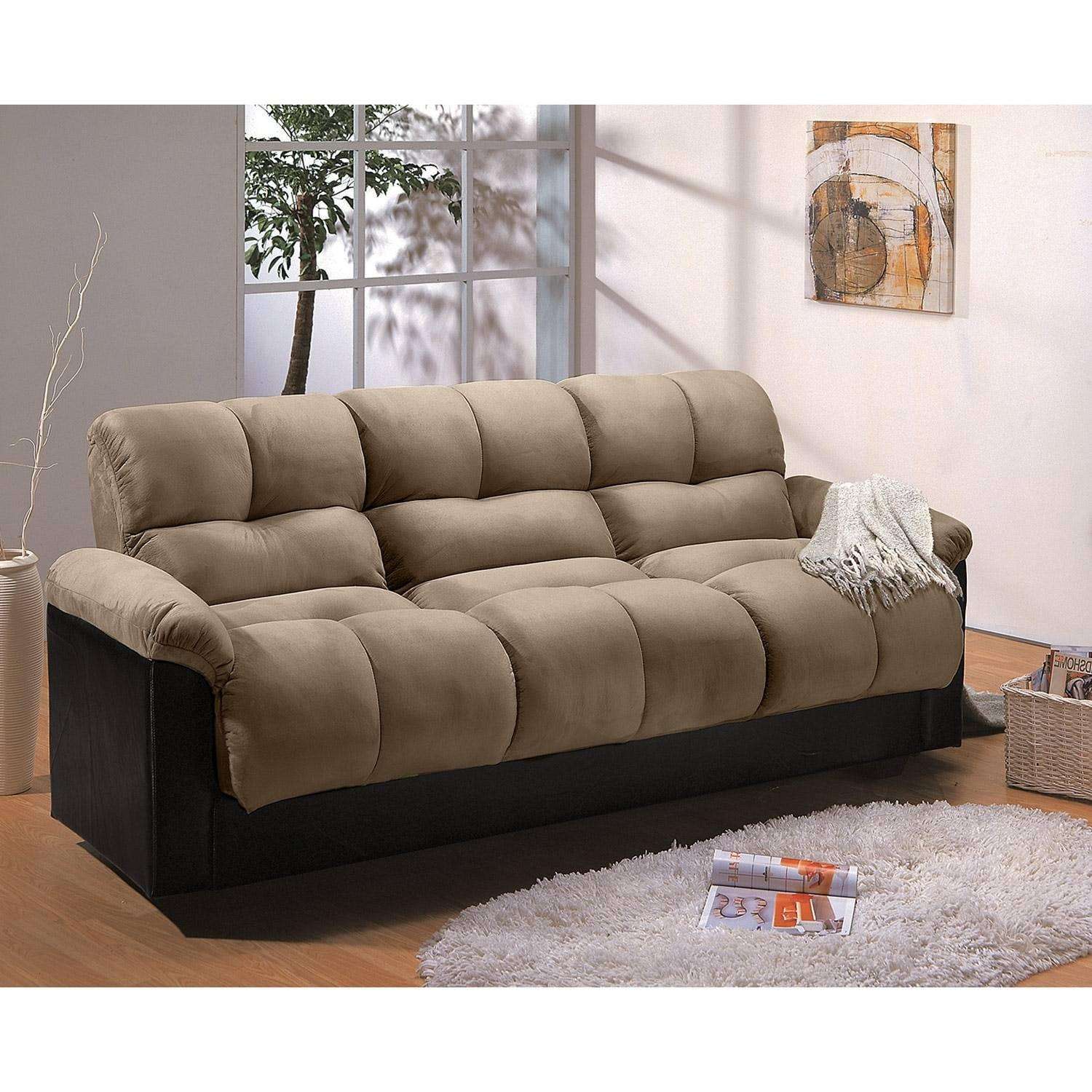 Ara Futon Sofa Bed With Storage - Hazelnut | Value City Furniture intended for Fulton Sofa Beds (Image 1 of 30)