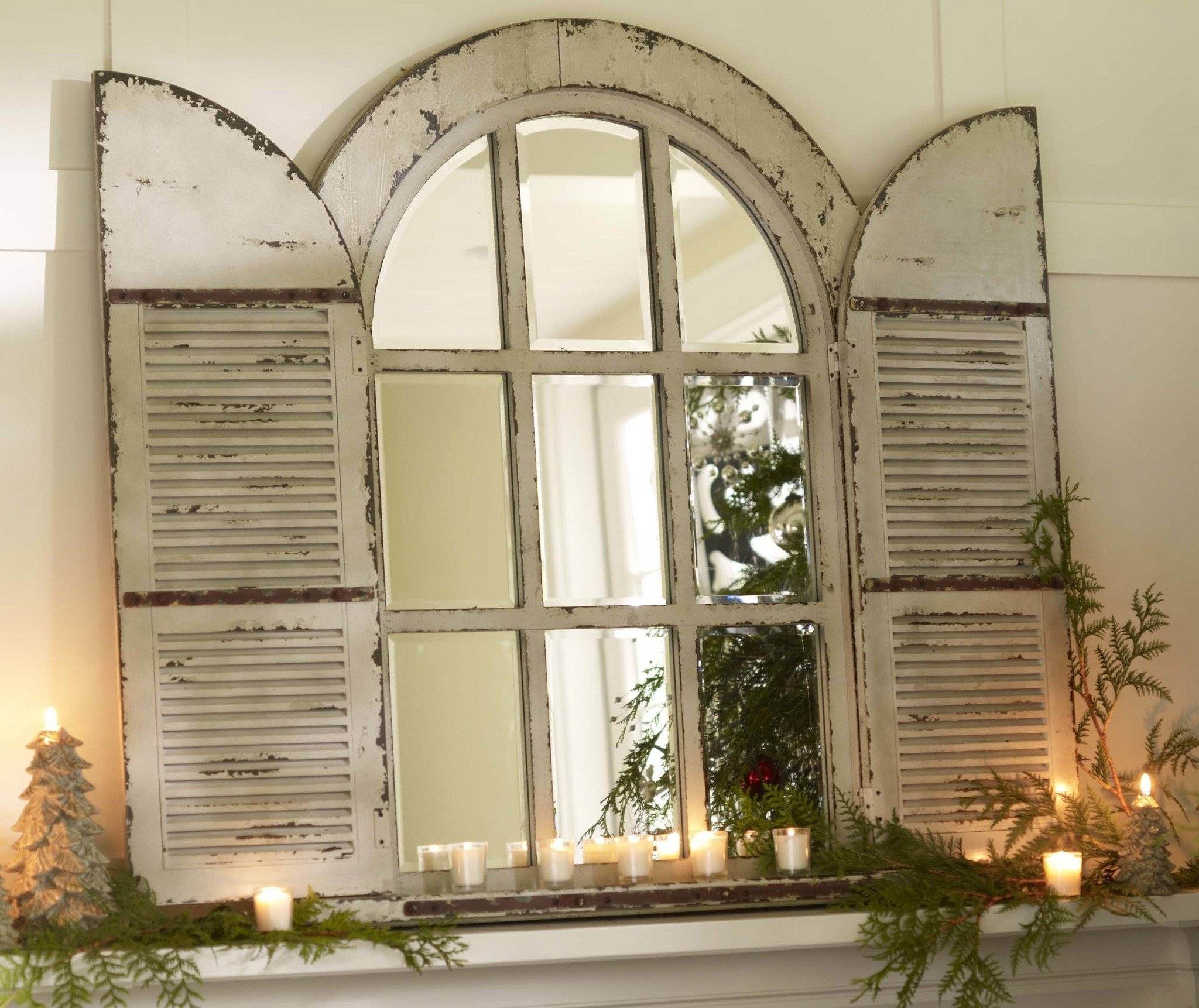 Arched Mirror With Shutters 27 Cute Interior And Cool Arched throughout Shabby Chic Window Mirrors (Image 5 of 25)