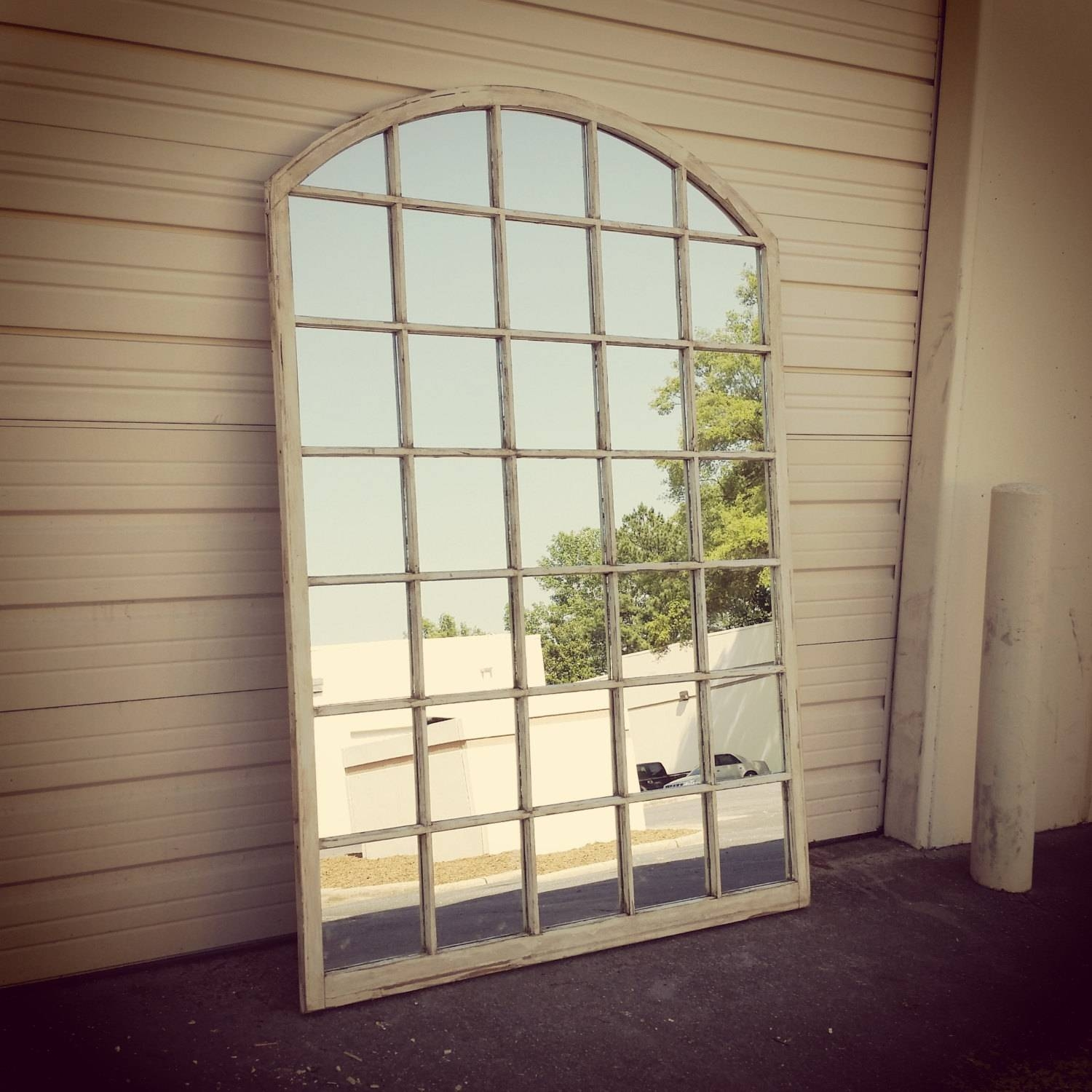 Arched Window Pane Mirror Arched Window Mirror White Window in White Arched Window Mirrors (Image 10 of 25)