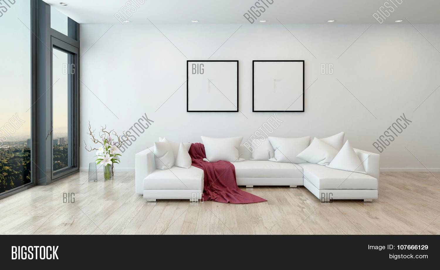 Architectural Interior Of Open Concept Apartment In High Rise throughout Red Sofa Throws (Image 2 of 25)