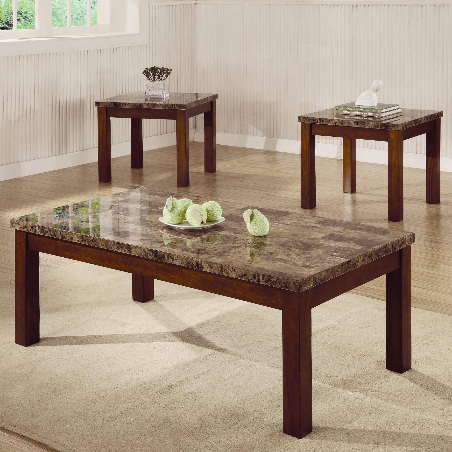 Arden 3 Piece Marble Look Top Coffee/end Table Set - Coffee Table pertaining to Coffee Table With Matching End Tables (Image 1 of 30)