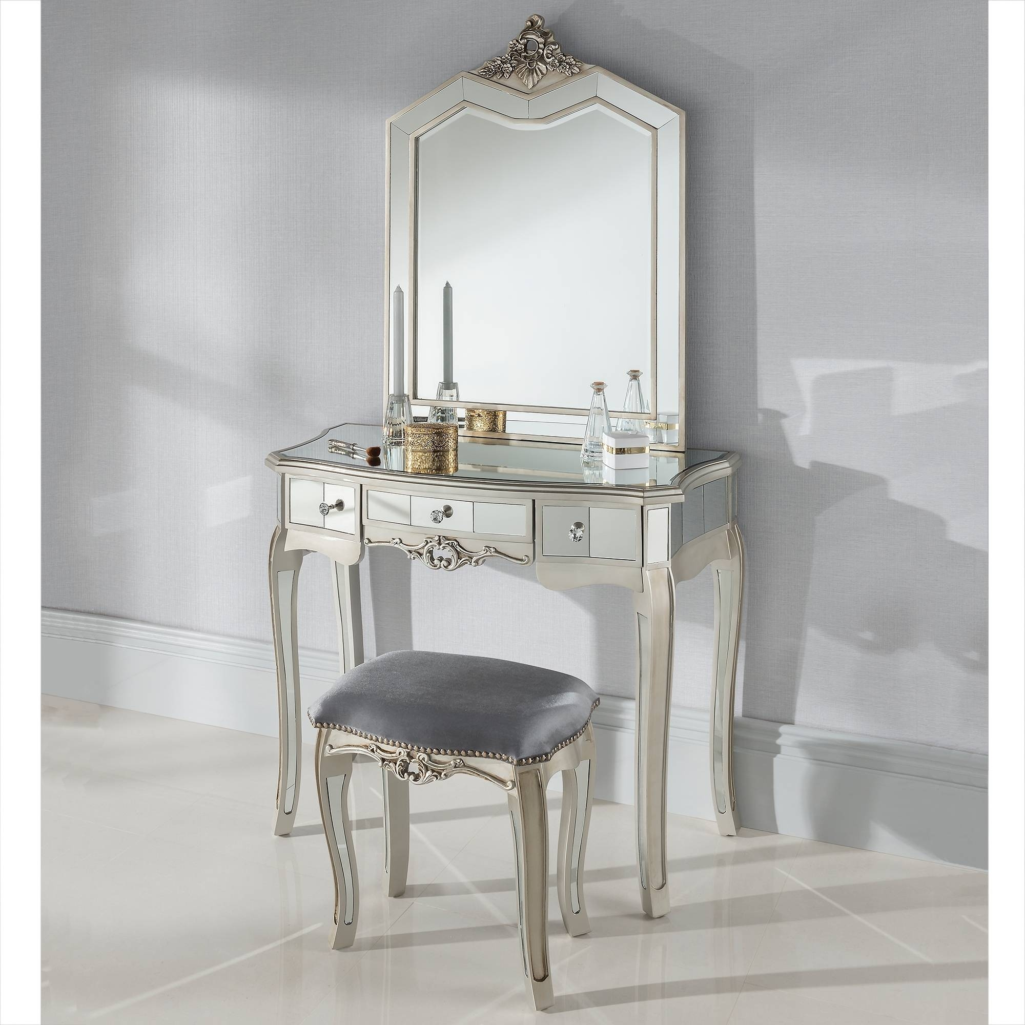Argente Mirrored Antique French Style Dressing Table Set - French with French Style Dressing Table Mirrors (Image 7 of 25)