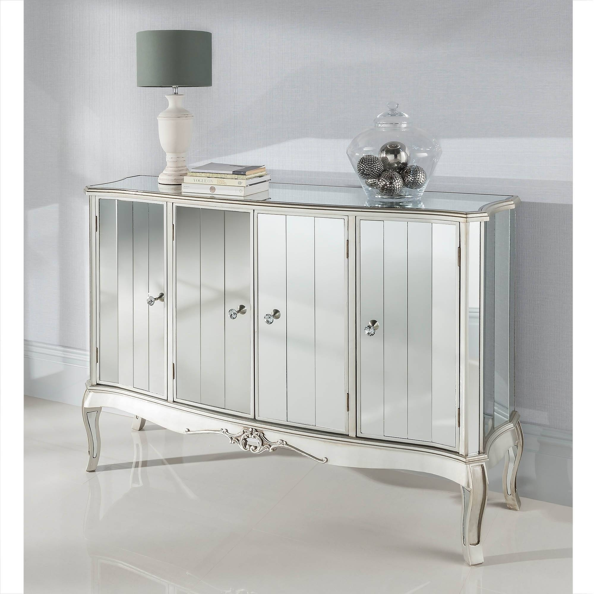 Argente Mirrored Four Door Sideboard | Mirrored Furniture within White Mirrored Sideboards (Image 1 of 30)