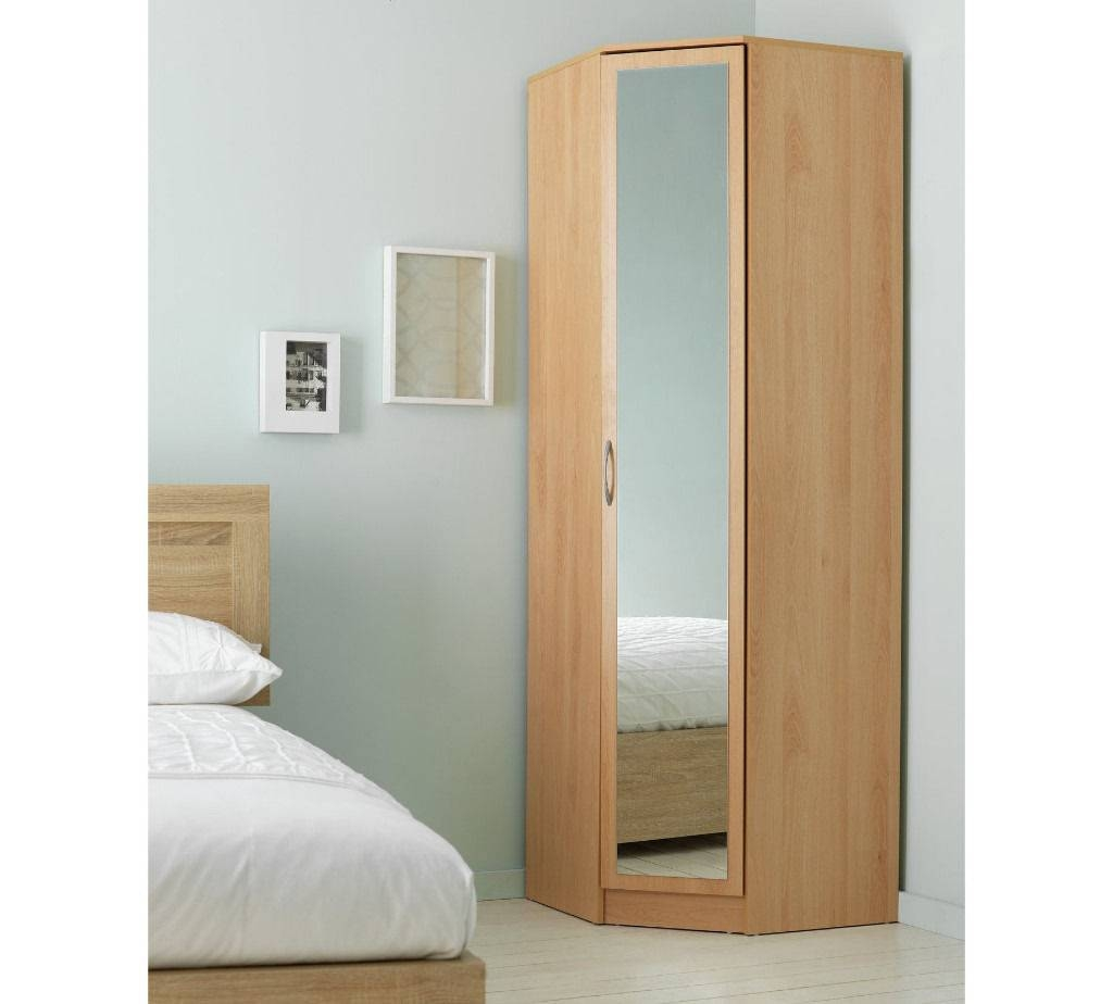 Argos Cheval 1Door Mirrored Corner Wardrobe-Beech Effect | In within 1 Door Corner Wardrobes (Image 2 of 15)