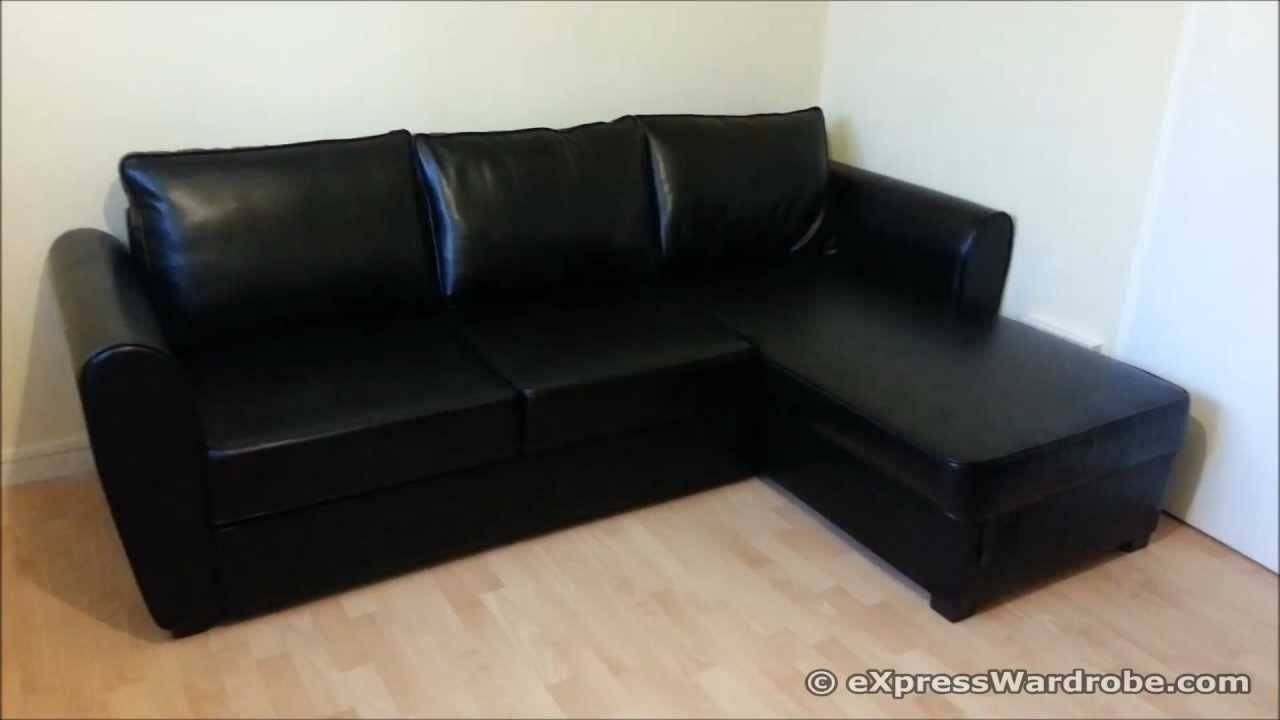 Argos Siena Corner Leather Effect Sofa-Bed With Storage Design inside Leather Corner Sofa Bed (Image 2 of 30)