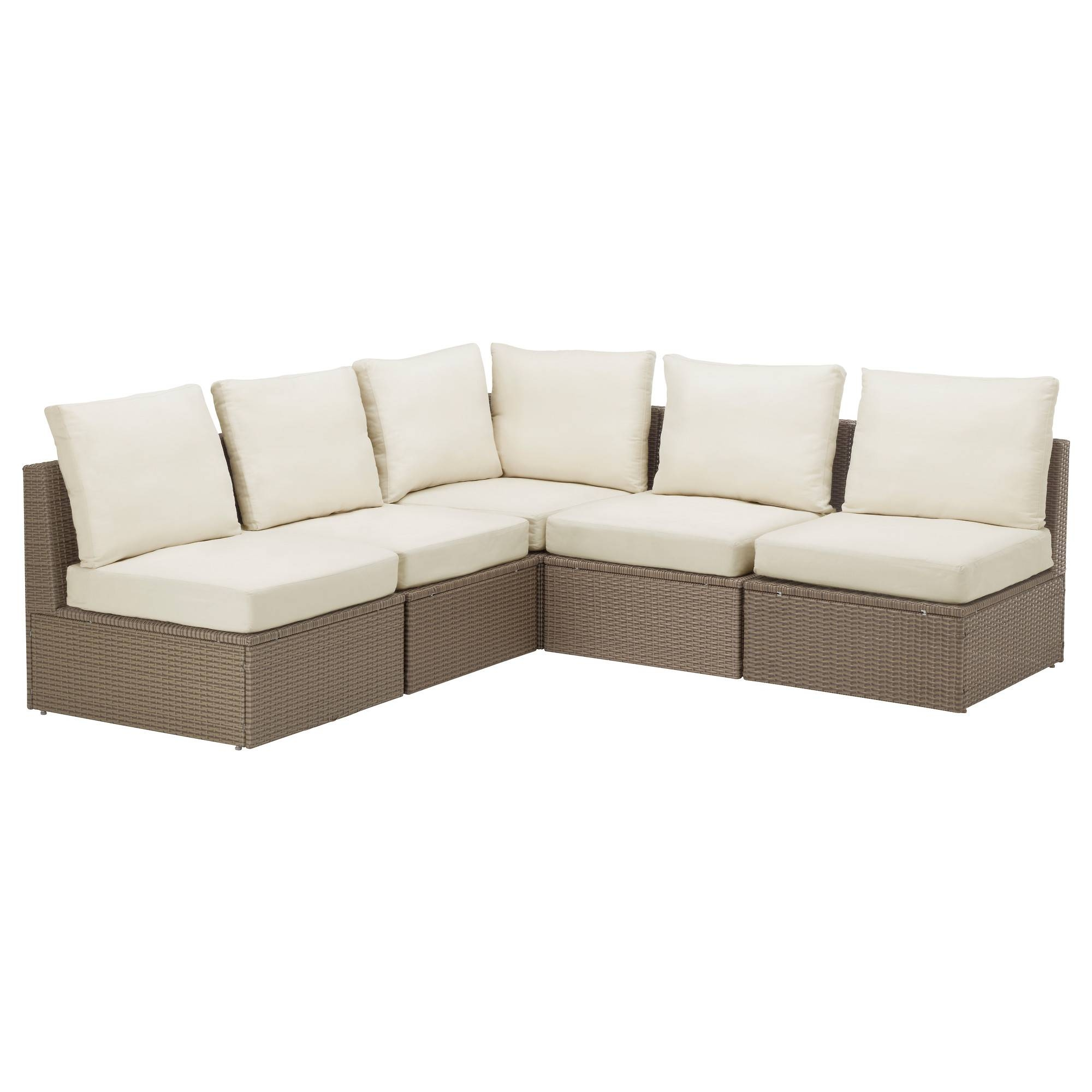 Arholma Corner Sofa 3+2, Outdoor Brown/beige 206/206X76X66 Cm - Ikea regarding Corner Sofa Chairs (Image 1 of 30)