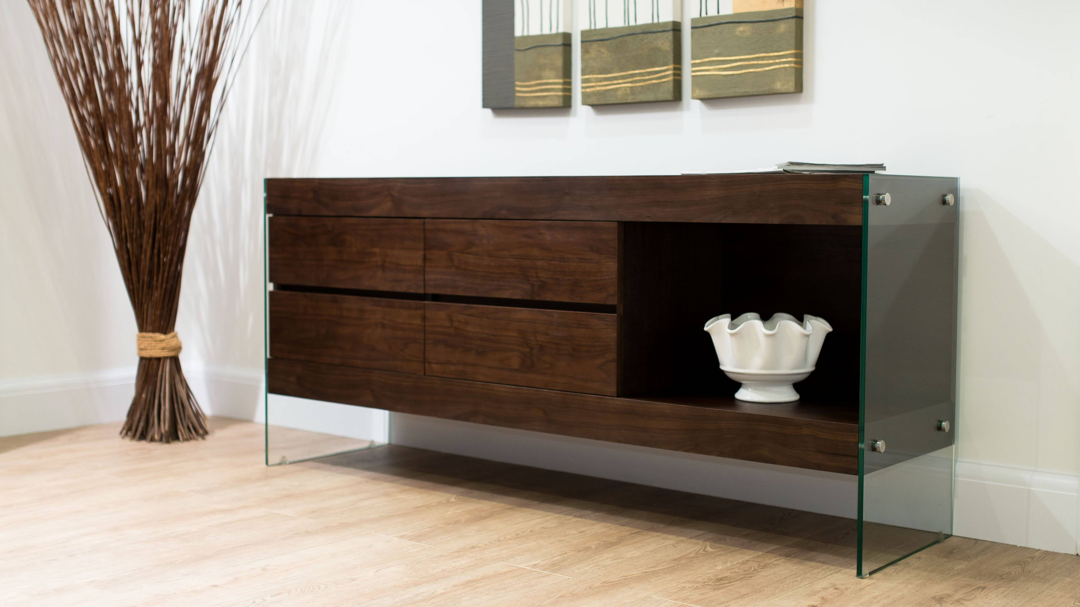 Aria Glass And Espresso Dark Wood Sideboard - Youtube pertaining to Dark Sideboards (Image 1 of 30)