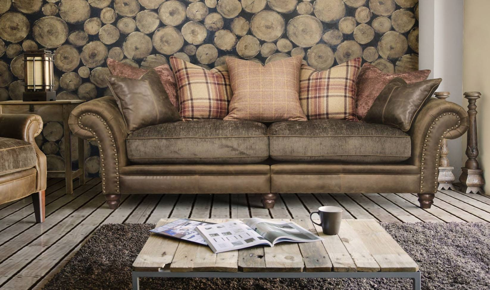 Armchairs Dark Wood Solid Neutral Sofa Accent Botanical Contrast in Leather And Cloth Sofa (Image 2 of 25)