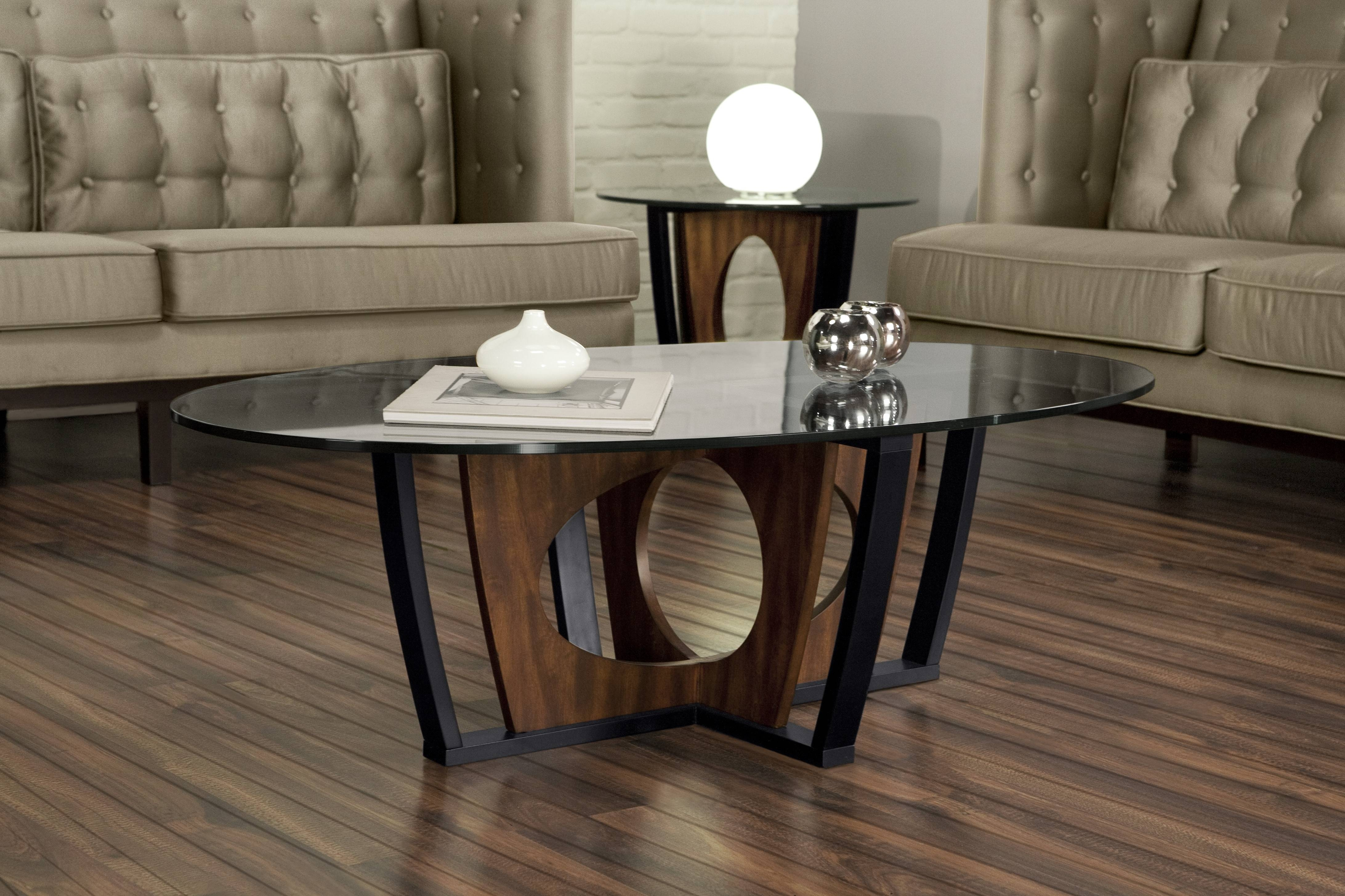 Armen Living Decca Oval Glass Top Coffee Table | Coffee Tables within Oval Glass Coffee Tables (Image 3 of 30)