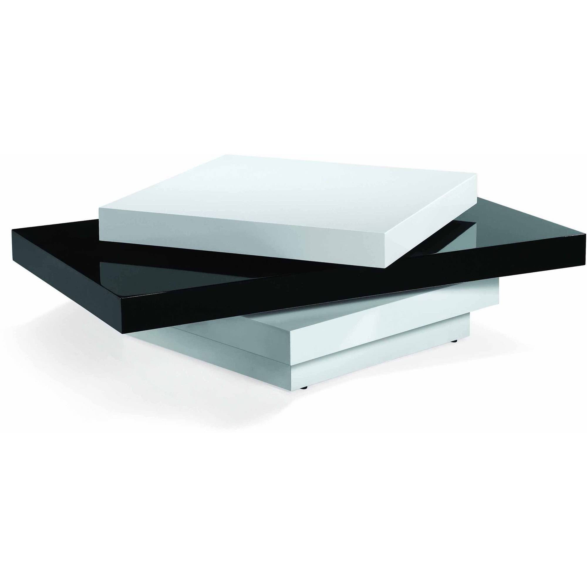 Armen Living Modern Swivel Coffee Table, Black And White High regarding High Gloss Coffee Tables (Image 1 of 30)