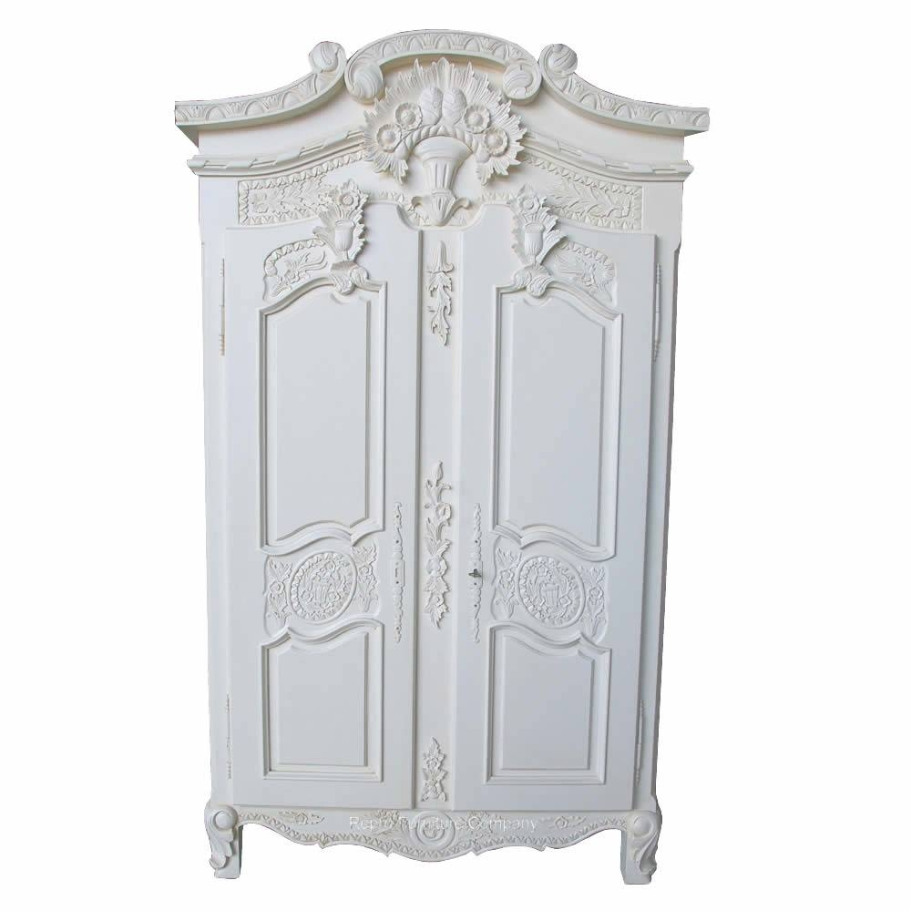 Armoire French White   Wardrobe | French Bedroom | White   £795.00 Pertaining To French White Wardrobes (Photo 11 of 15)