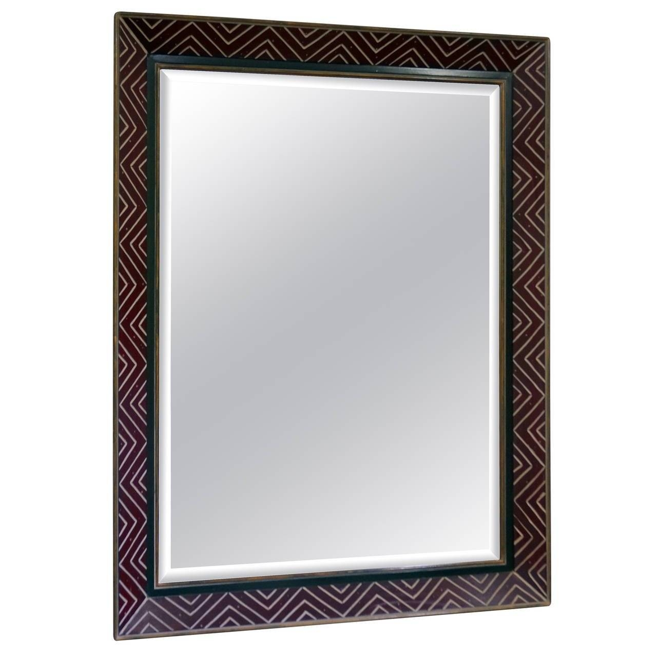 Art Deco Egyptian Revival Style Wall Mirror With Incised Chevron inside Art Deco Style Mirrors (Image 3 of 25)