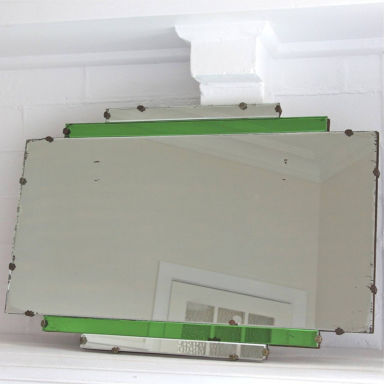 Art Deco Green Glass Mirror ~ Sold - My French Finds with Original Art Deco Mirrors (Image 8 of 25)