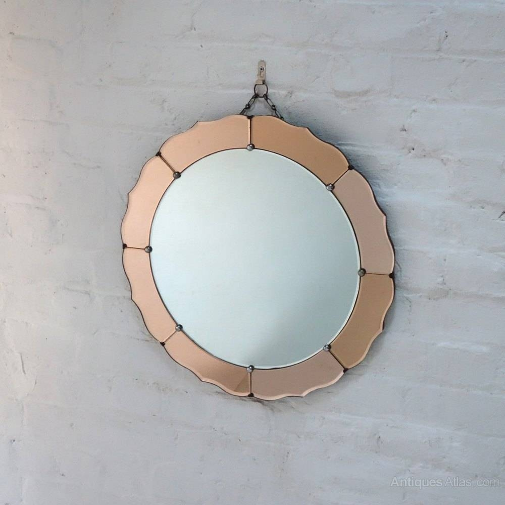 Art Deco Mirror Round. 97Cm Round Art Deco Mirror. All Glass regarding Antique Art Deco Mirrors (Image 13 of 25)