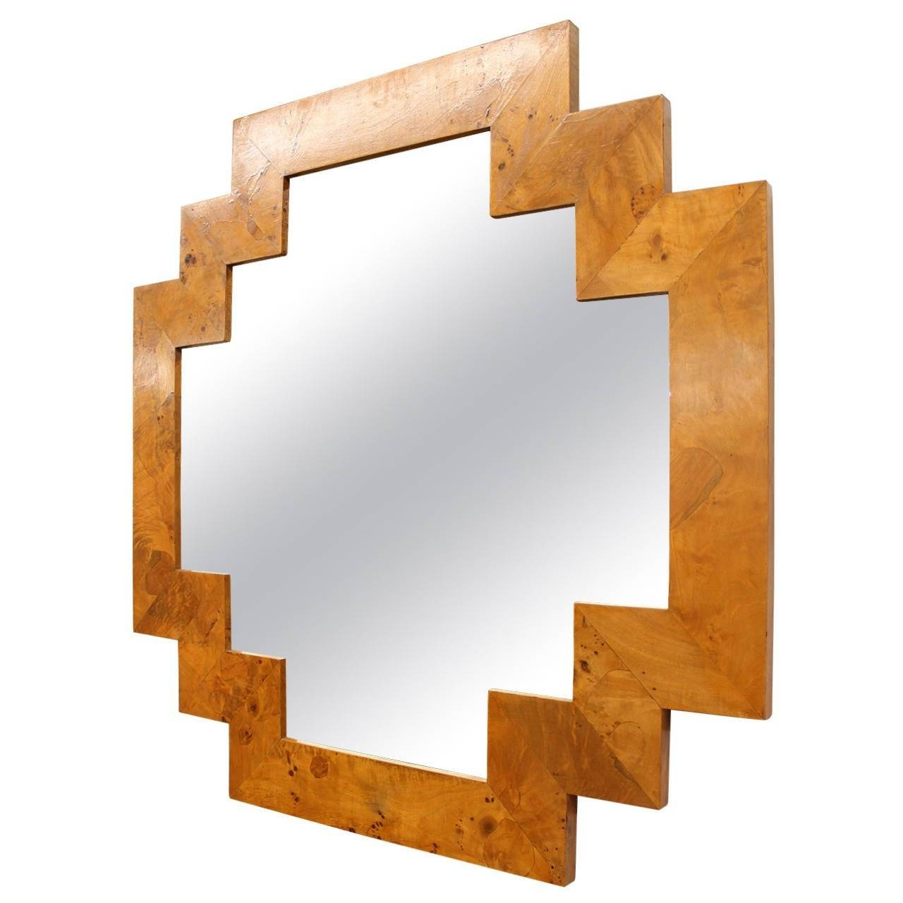 Art Deco Style Geometric Italian Burl Wood Wall Mirror At 1Stdibs pertaining to Art Deco Mirrors (Image 7 of 25)