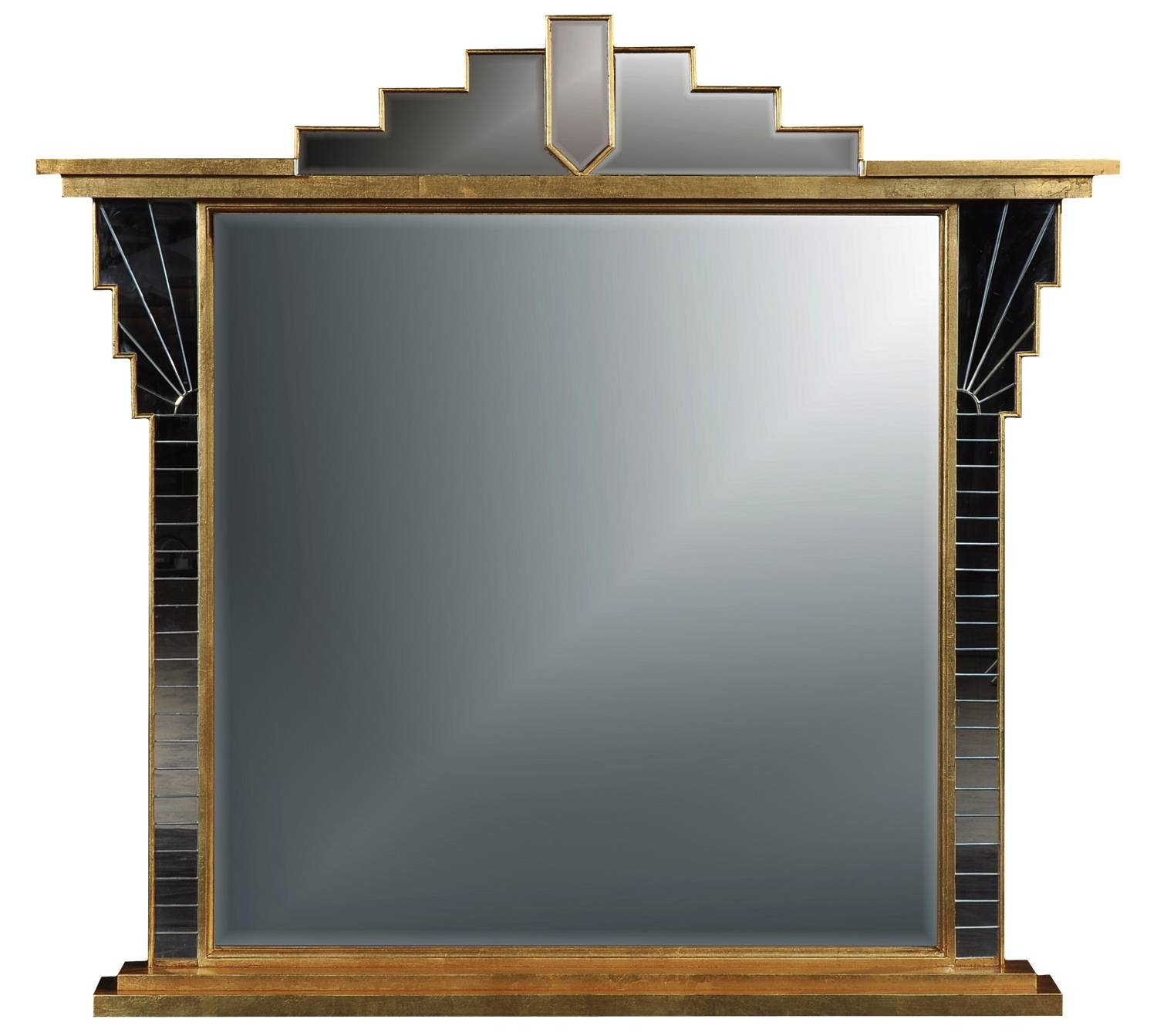 Art Deco Style Overmantel Mirror - Antique Finish, Overmantle inside Antique Art Deco Mirrors (Image 17 of 25)