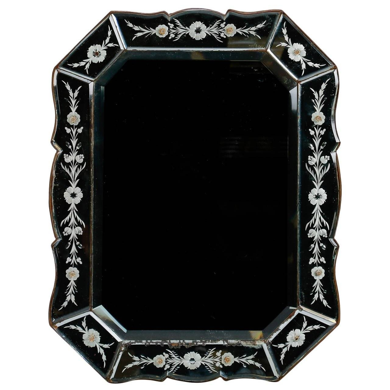 Art Deco Venetian Mirror With Eight Sided Etched Frame For Sale At Throughout Square Venetian Mirrors (View 5 of 25)