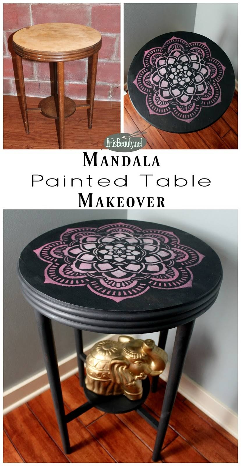 Art Is Beauty: Mandala Painted Table Makeover for Boho Coffee Tables (Image 6 of 30)