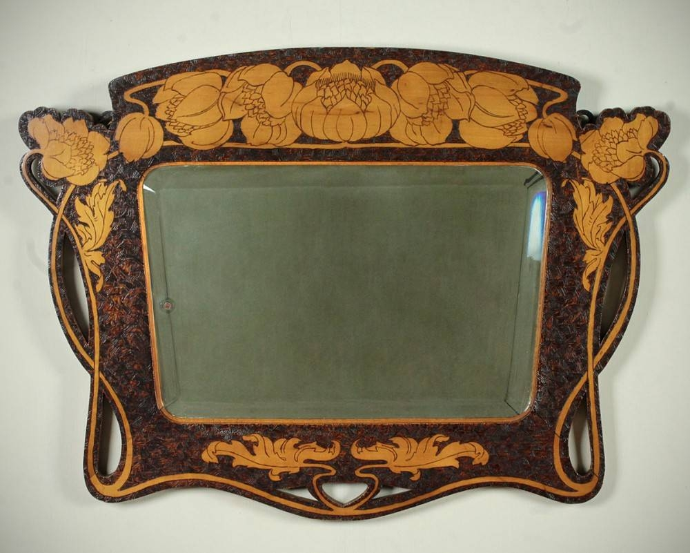 Art Nouveau Pokerwork Mirror C.1890. | 315797 | Sellingantiques.co.uk in Art Nouveau Mirrors (Image 11 of 25)