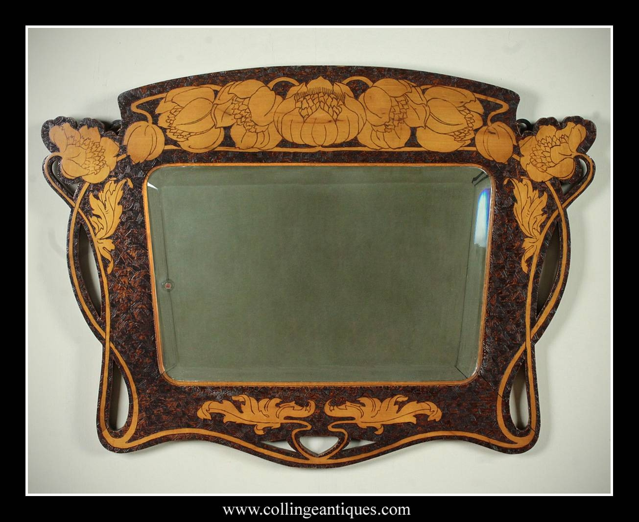 Art Nouveau Pokerwork Mirror. - Collinge Antiques throughout Art Nouveau Wall Mirrors (Image 13 of 25)