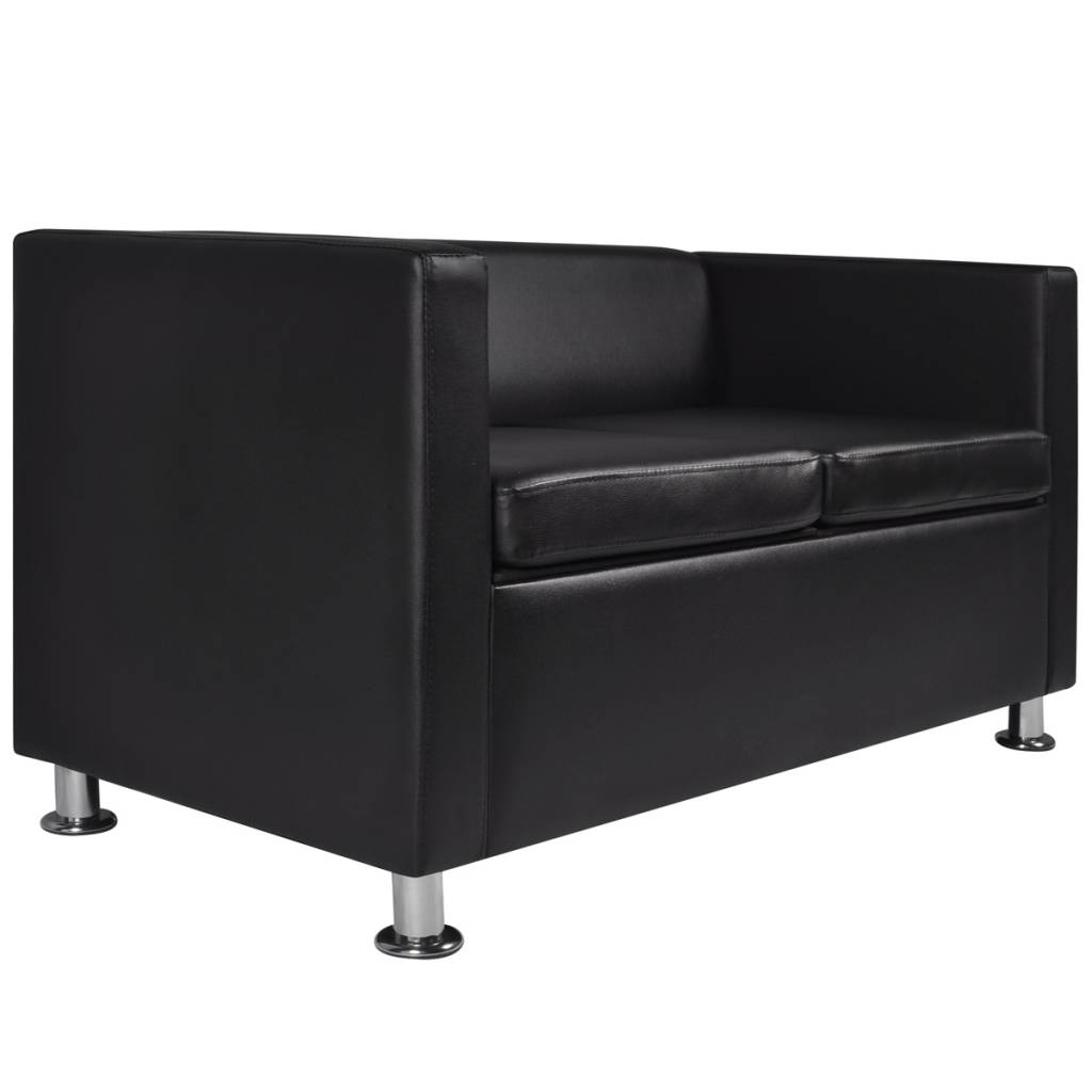 Artificial Leather 2-Seater Sofa Black | Vidaxl for Black 2 Seater Sofas (Image 5 of 30)