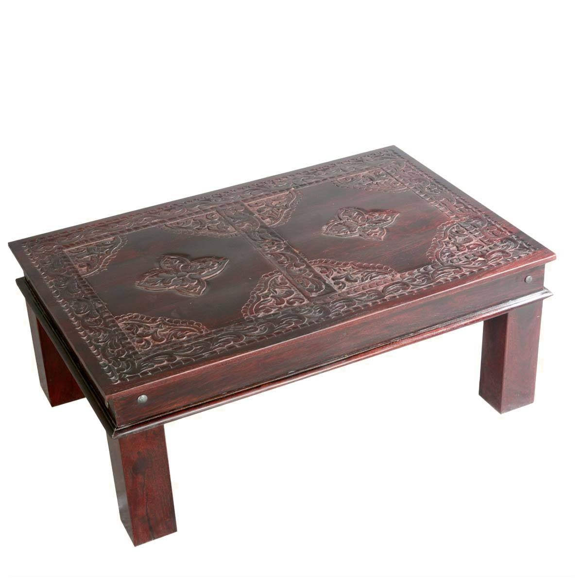 Artisan Collection Asian Ornate Hand Carved Mango Wood Coffee intended for Mango Coffee Tables (Image 3 of 30)