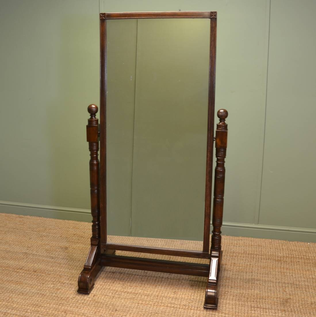 Arts And Crafts Victorian Large Ash Antique Cheval Mirror (C. 1890 intended for Silver Cheval Mirrors (Image 2 of 25)