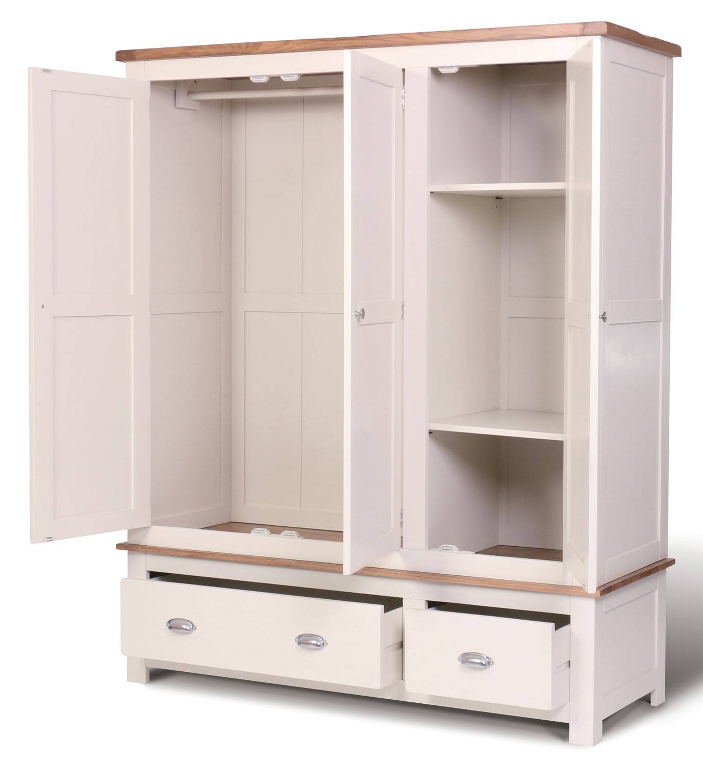 Ascot Triple Wardrobe With Drawers - Wardrobes - Bedroom | Hallowood within Wardrobe With Drawers and Shelves (Image 4 of 30)