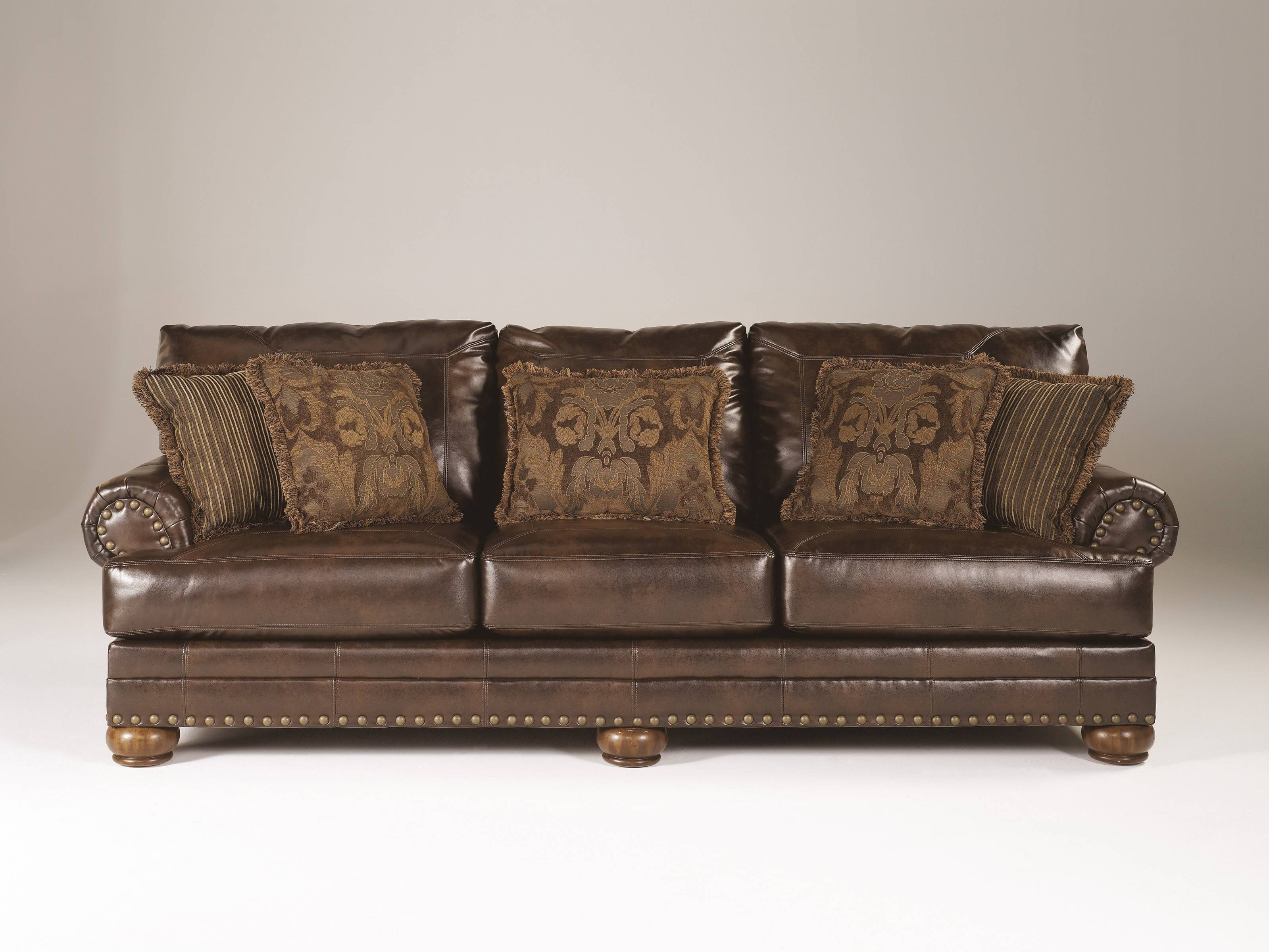Ashley Brown Leather Durablend Antique Chair 1/2Ashley pertaining to Antique Sofa Chairs (Image 5 of 30)